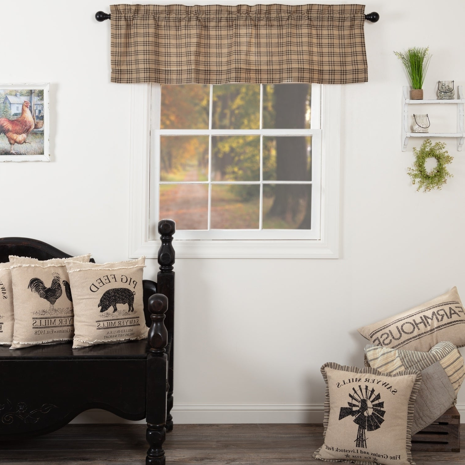 Farmhouse Kitchen Curtains Vhc Sawyer Mill Plaid Valance Rod Pocket Cotton Intended For Most Popular Farmhouse Kitchen Curtains (View 8 of 20)