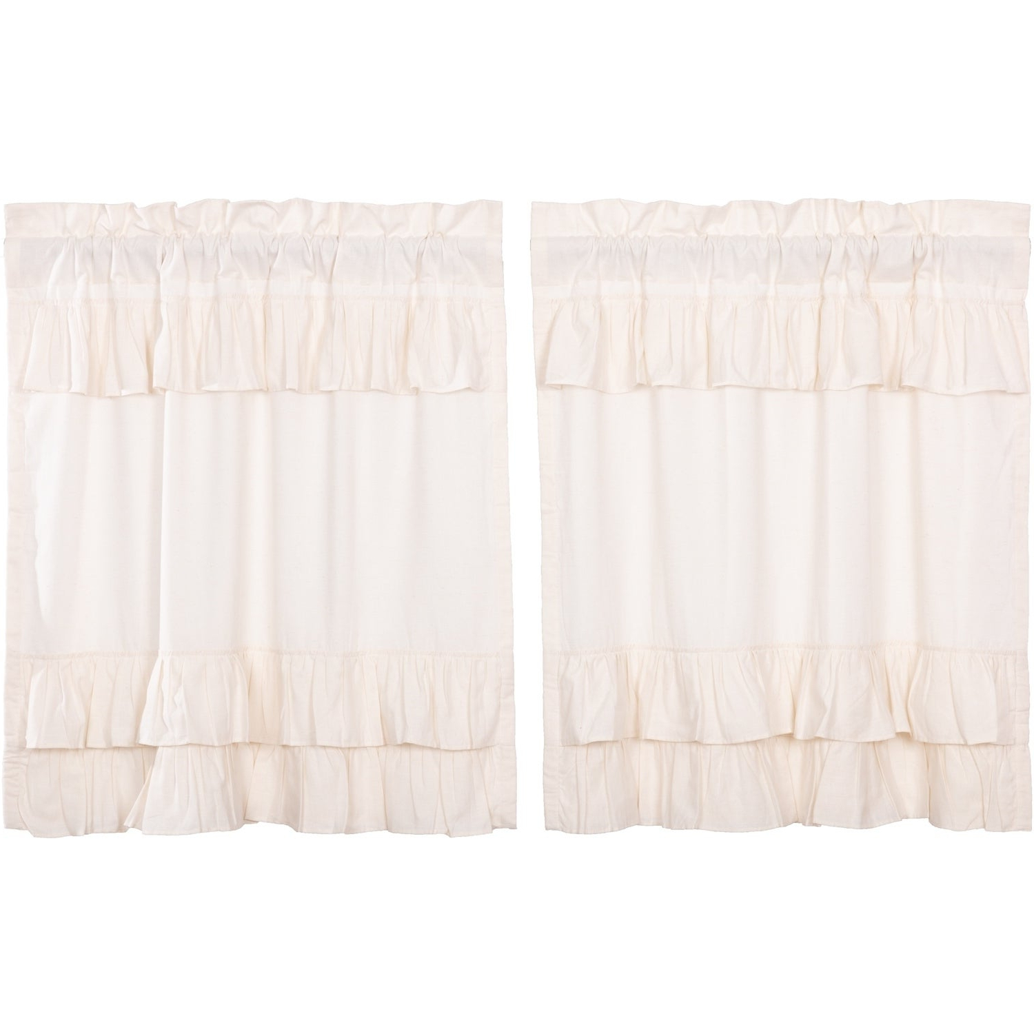 Farmhouse Kitchen Curtains Vhc Simple Life Flax Tier Pair Rod Pocket Cotton Linen Blend Solid Color Flax Throughout Most Current Rod Pocket Cotton Solid Color Ruched Ruffle Kitchen Curtains (View 5 of 20)