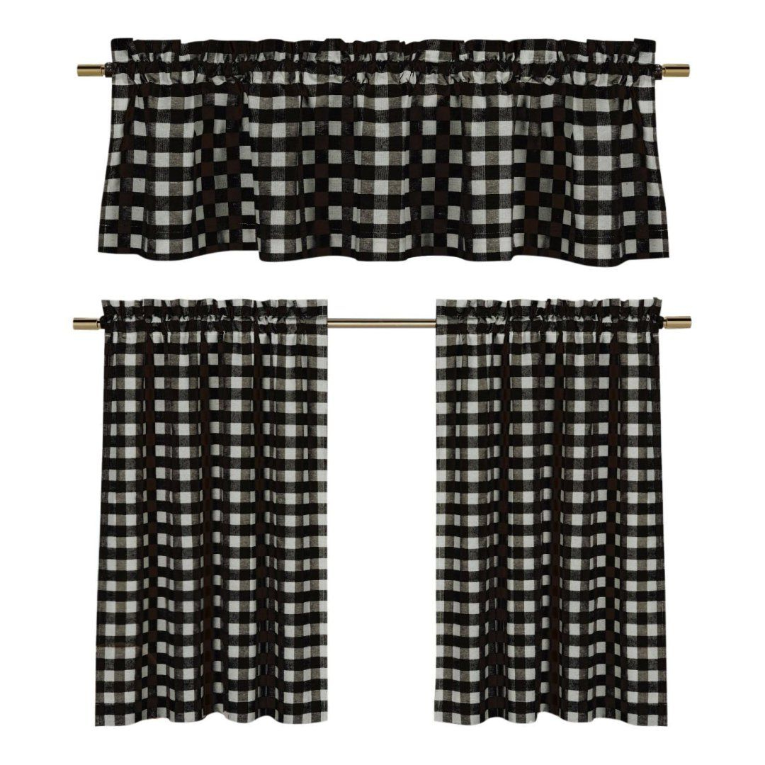 Farmhouse Style Kitchen Decor From Amazon, Hobby Lobby And For Famous Classic Navy Cotton Blend Buffalo Check Kitchen Curtain Sets (View 14 of 20)
