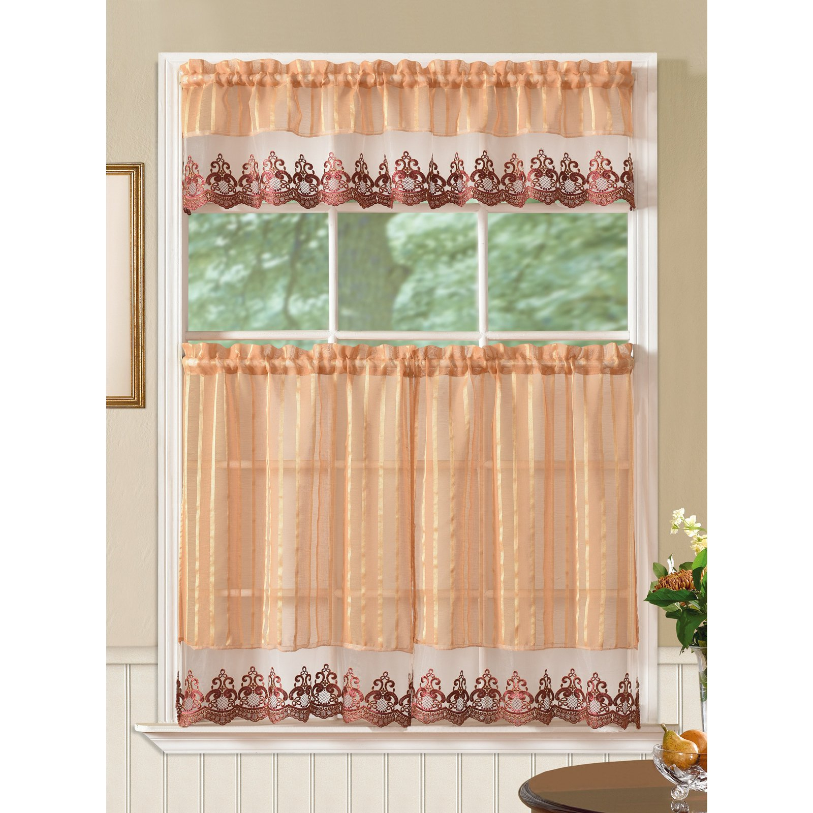 Fashionable Abby Embroidered 5 Piece Curtain Tier And Swag Sets Inside Bella Tier And Valance Kitchen Curtain Set, Gold – Walmart (View 16 of 20)