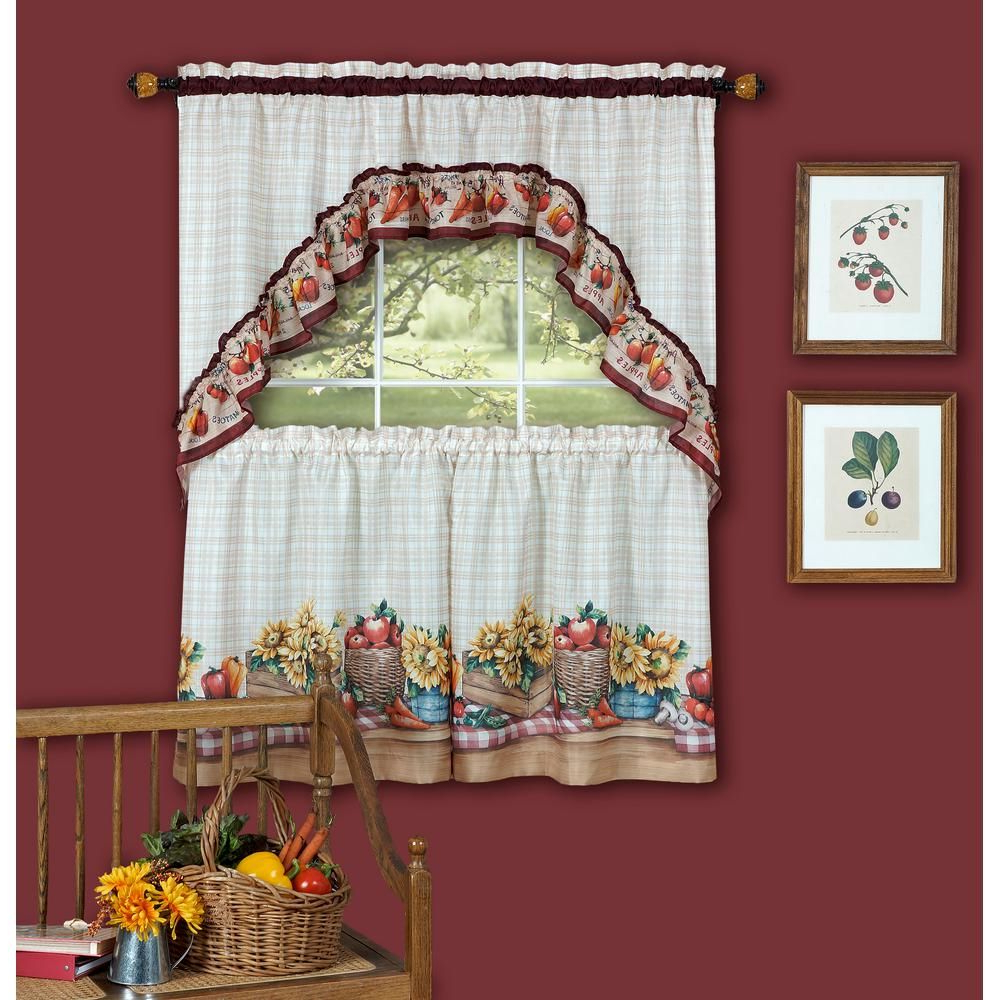 Fashionable Achim Sheer Farmer's Market Multi Colored Printed Tier And For Multicolored Printed Curtain Tier And Swag Sets (View 6 of 20)