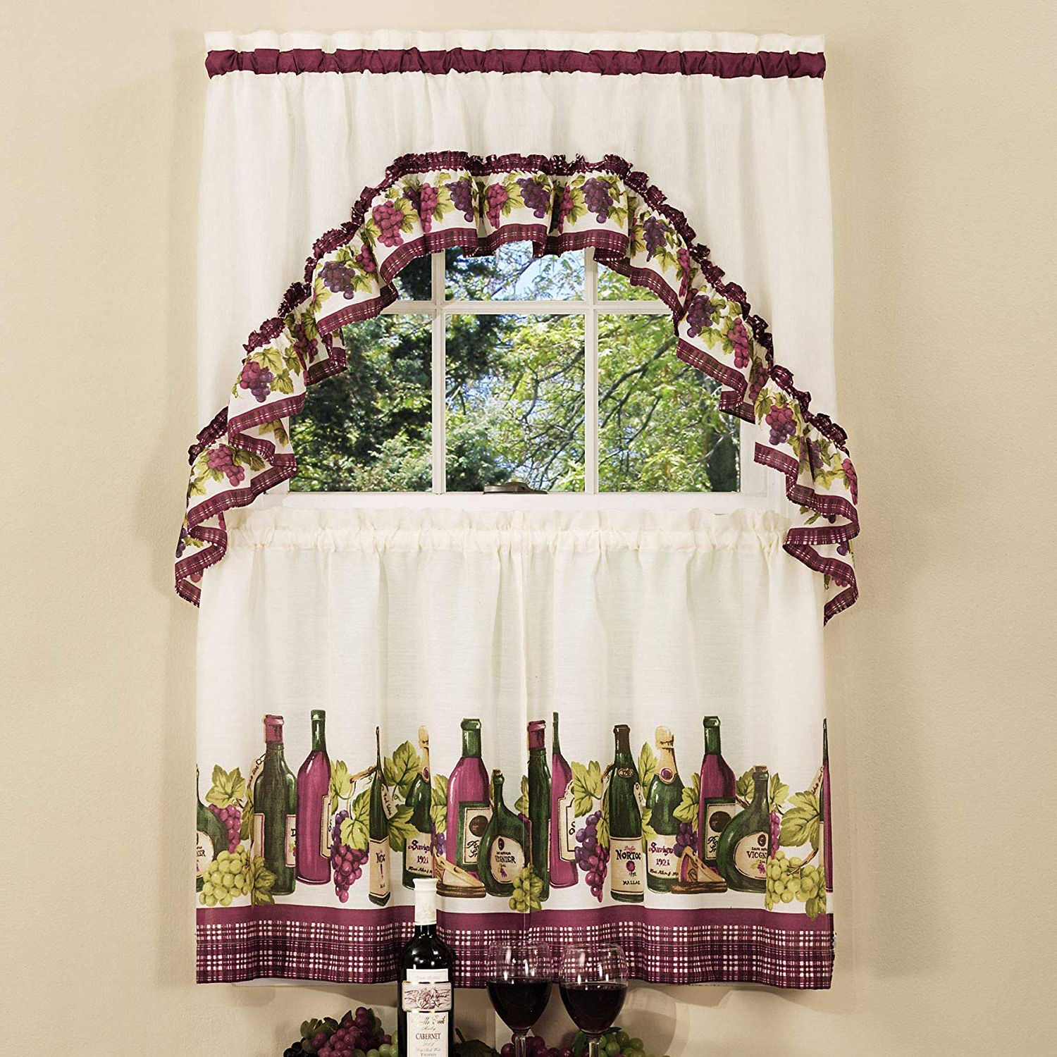 Fashionable Amazon: Ben & Jonah Primehome Collection Chardonnay For Chardonnay Tier And Swag Kitchen Curtain Sets (View 5 of 20)