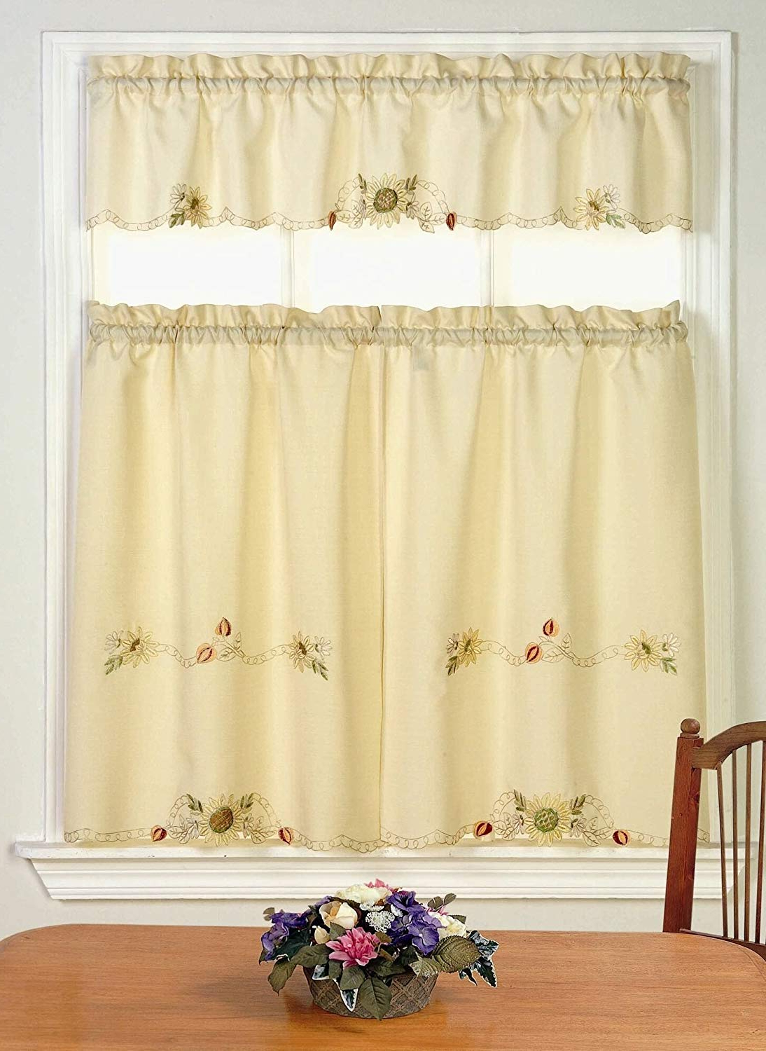 Fashionable Amazon: Ben & Jonah Simple Eleganceben&jonah For Traditional Tailored Window Curtains With Embroidered Yellow Sunflowers (View 3 of 20)