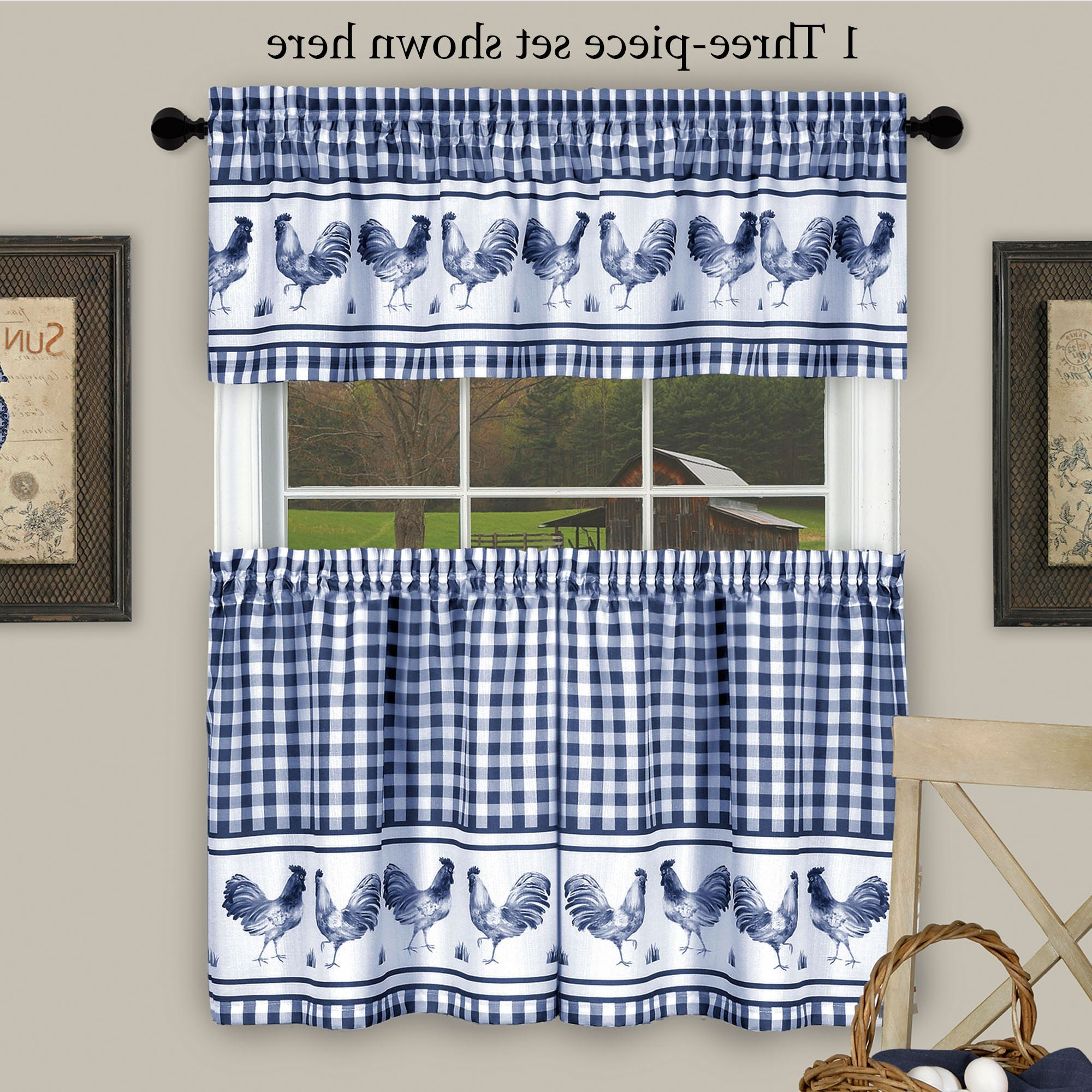 Fashionable Backyard Biddy Midnight Blue Rooster Kitchen Tier And Valance Set Intended For Serene Rod Pocket Kitchen Tier Sets (View 18 of 20)