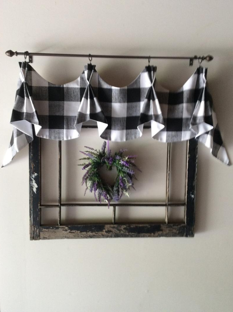 Fashionable Buffalo Checked Farmhouse Valance Throughout Barnyard Buffalo Check Rooster Window Valances (View 15 of 20)