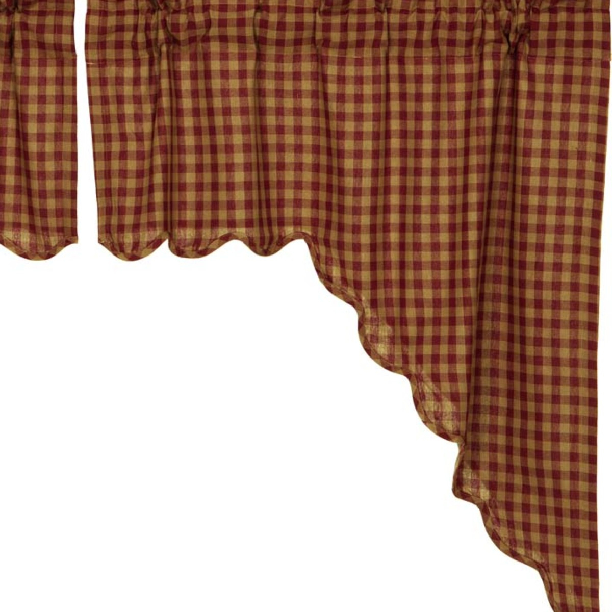 Fashionable Check Scalloped Swag Sets Throughout Burgundy Red Primitive Kitchen Curtains Burgundy Check Rod Pocket Cotton Check Swag Pair (View 14 of 20)