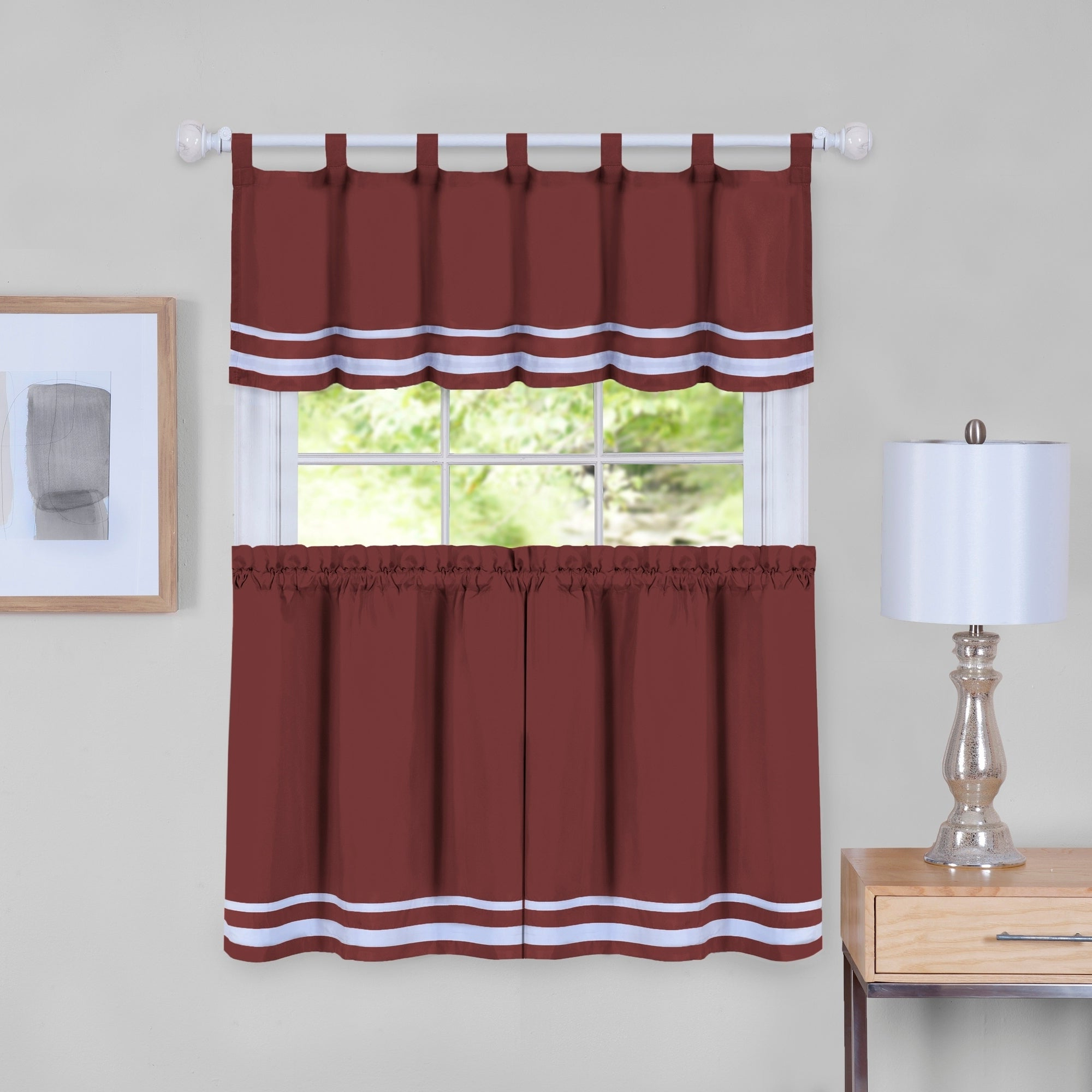 Fashionable Dakota Window Curtain Tier Pair And Valance Set Pertaining To Window Curtain Tier And Valance Sets (View 9 of 20)
