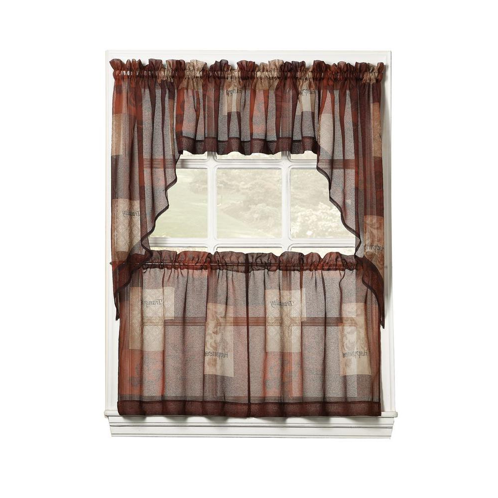 Fashionable Delicious Apples Kitchen Curtain Tier And Valance Sets Throughout Lichtenberg Sheer Multi Eden Printed Textured Sheer Kitchen Curtain Tiers,  56 In. W X 24 In. L (Gallery 20 of 20)