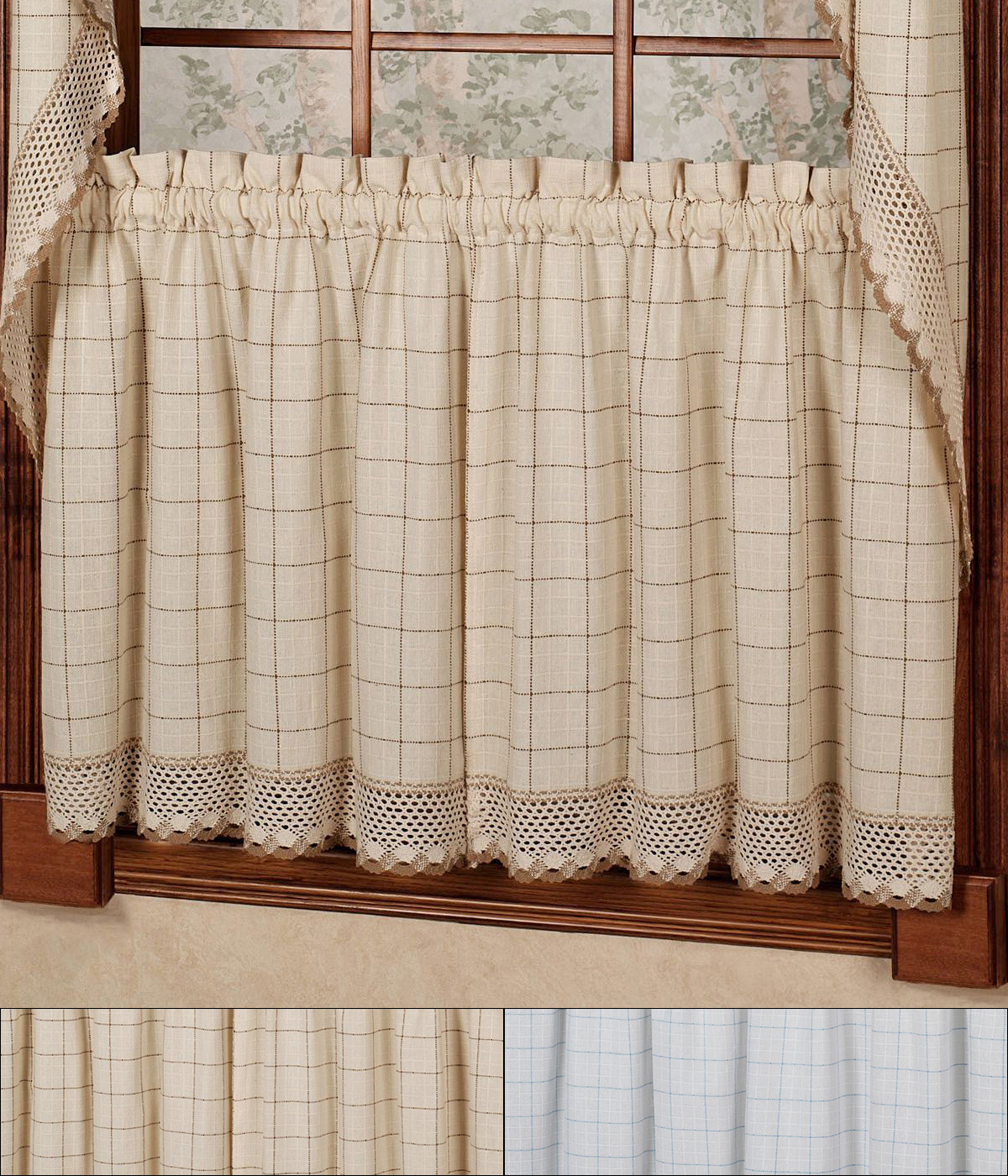 """Fashionable Details About Adirondack Cotton Kitchen Window Curtains – 24"""" X 60"""" Tier  Pair Intended For Cotton Classic Toast Window Pane Pattern And Crotchet Trim Tiers (Gallery 3 of 20)"""