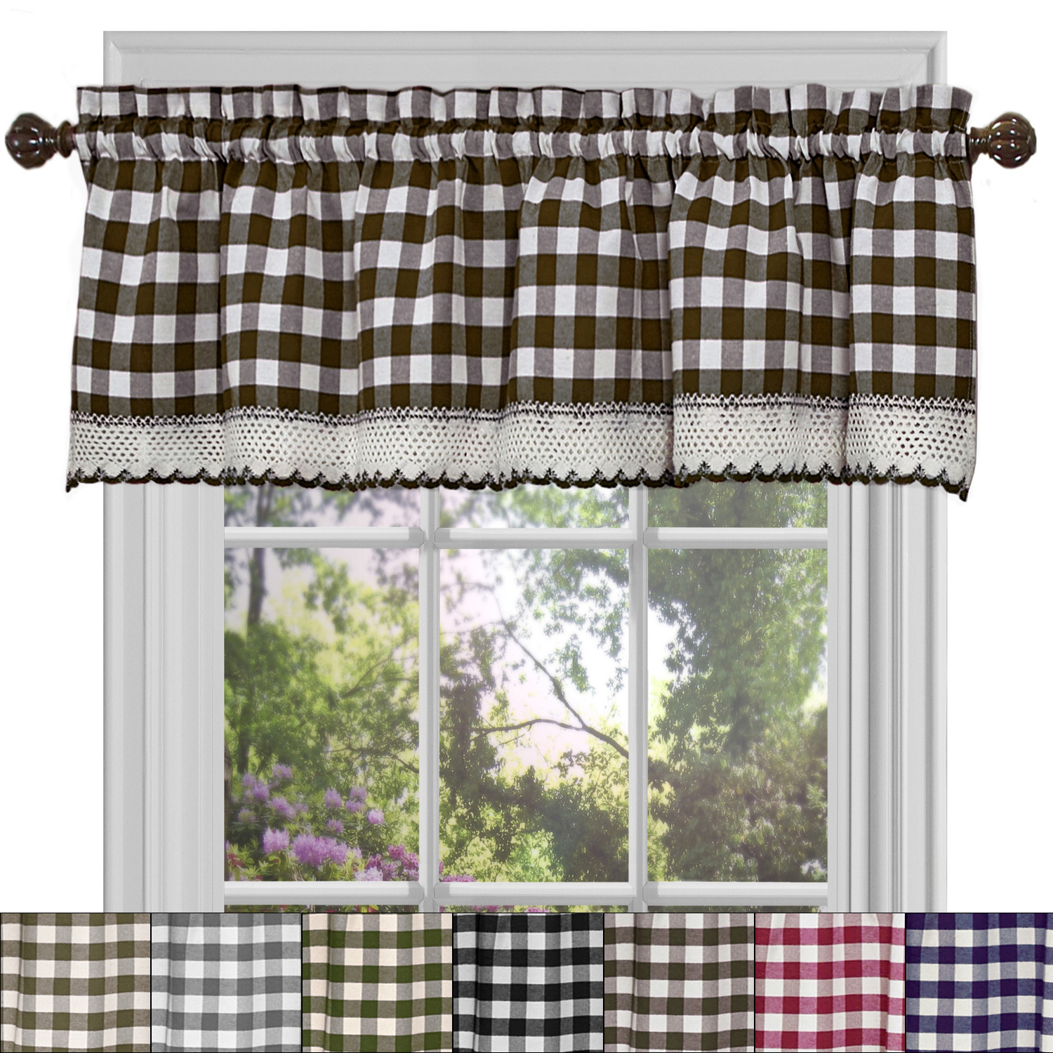 "Fashionable Details About Buffalo Check Gingham Kitchen Curtain Valance – 14"" X 58"" In Barnyard Buffalo Check Rooster Window Valances (View 6 of 20)"