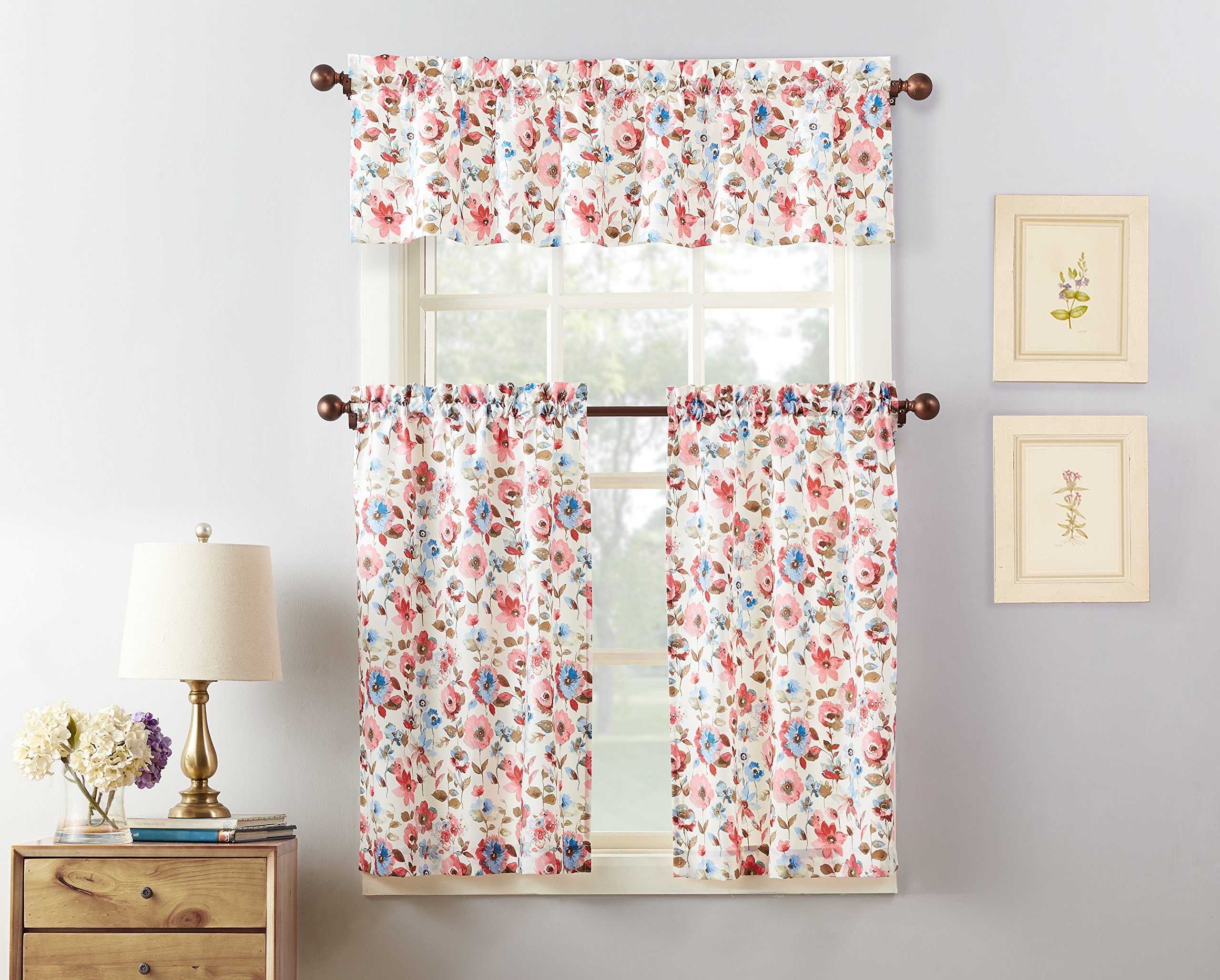 "Fashionable Details About No. 918 Dora Floral Microfiber 3 Piece Kitchen Curtain Set,  54"" X 36"", Coral Regarding Microfiber 3 Piece Kitchen Curtain Valance And Tiers Sets (Gallery 4 of 20)"