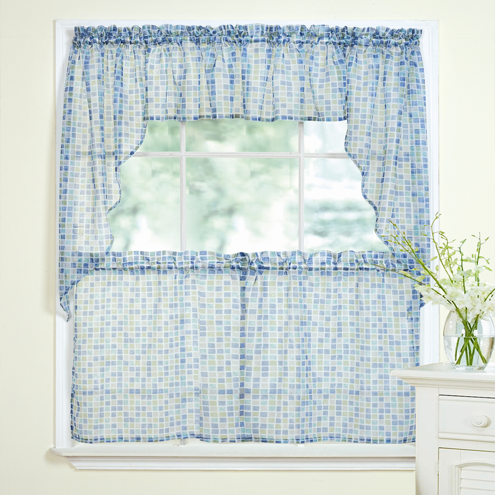 Fashionable Details About Tiles Block Print Blue/green Sheer Voile Kitchen Curtains Tier, Valance Or Swag For Floral Embroidered Sheer Kitchen Curtain Tiers, Swags And Valances (View 14 of 20)
