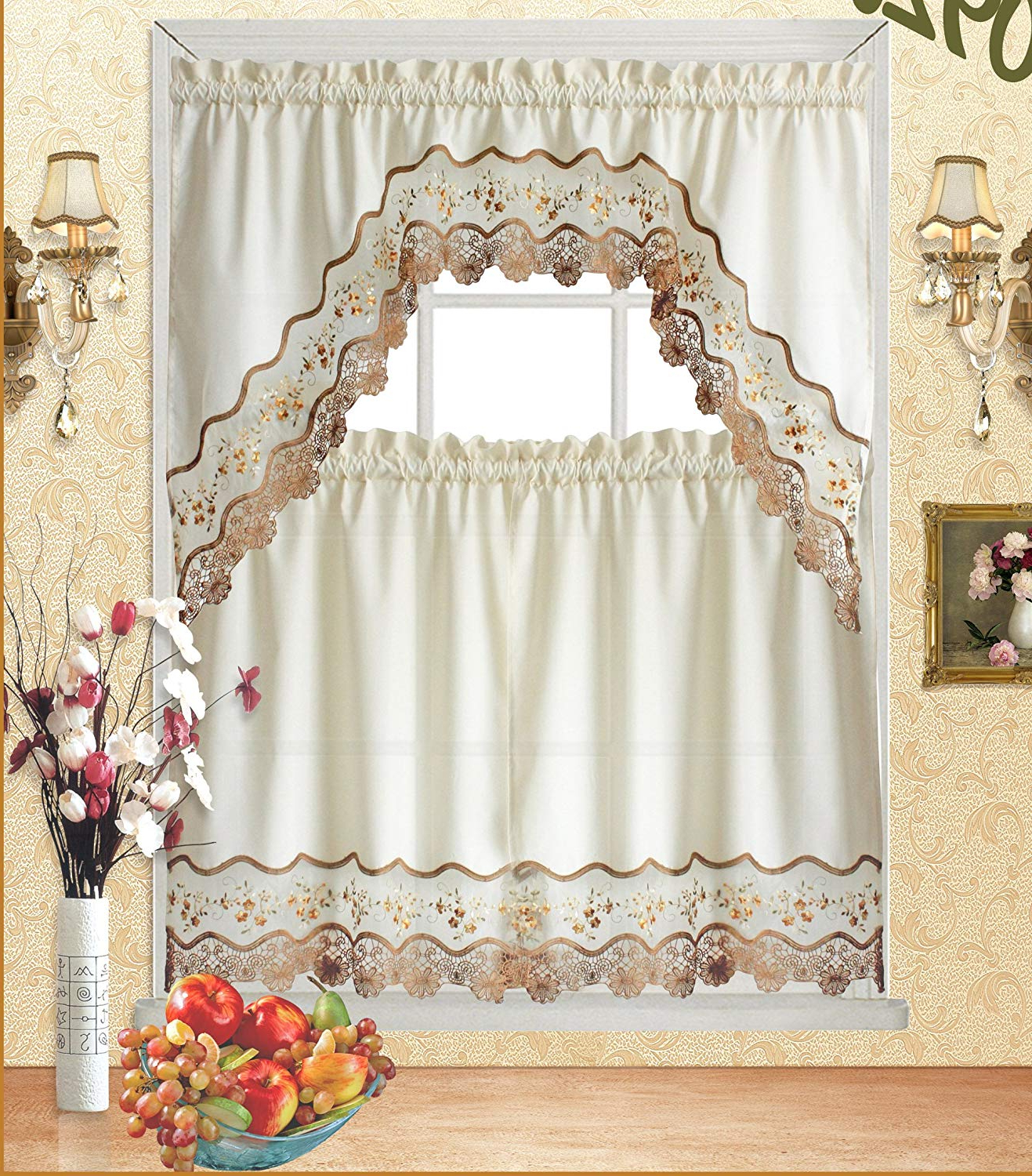 "Fashionable Fancy Collection 3Pc Beige With Embroidery Floral Kitchen/cafe Curtain Tier  And Valance Set 001092 (60"" X 38"", Gold/beige/beige) Within Cotton Blend Ivy Floral Tier Curtain And Swag Sets (Gallery 5 of 20)"