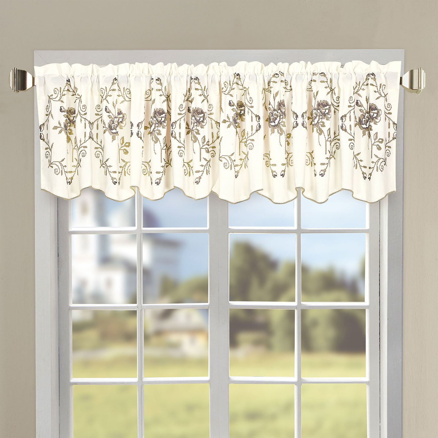 """Fashionable Floral Watercolor Semi Sheer Rod Pocket Kitchen Curtain Valance And Tiers Sets With Regard To Serenta Classic Embroidery Valance, 60""""x19"""" (Lilac Roses) (View 3 of 20)"""