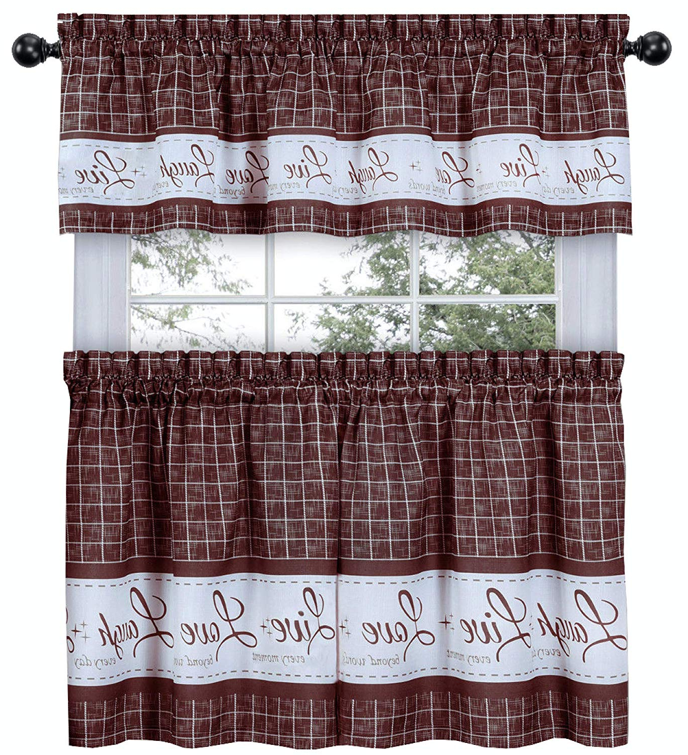 Fashionable Goodgram Country Gingham Check Live~laugh~love 3 Pc. Café Plaid Kitchen Curtain Set – Assorted Colors & Sizes (gray, 24 In (View 16 of 20)