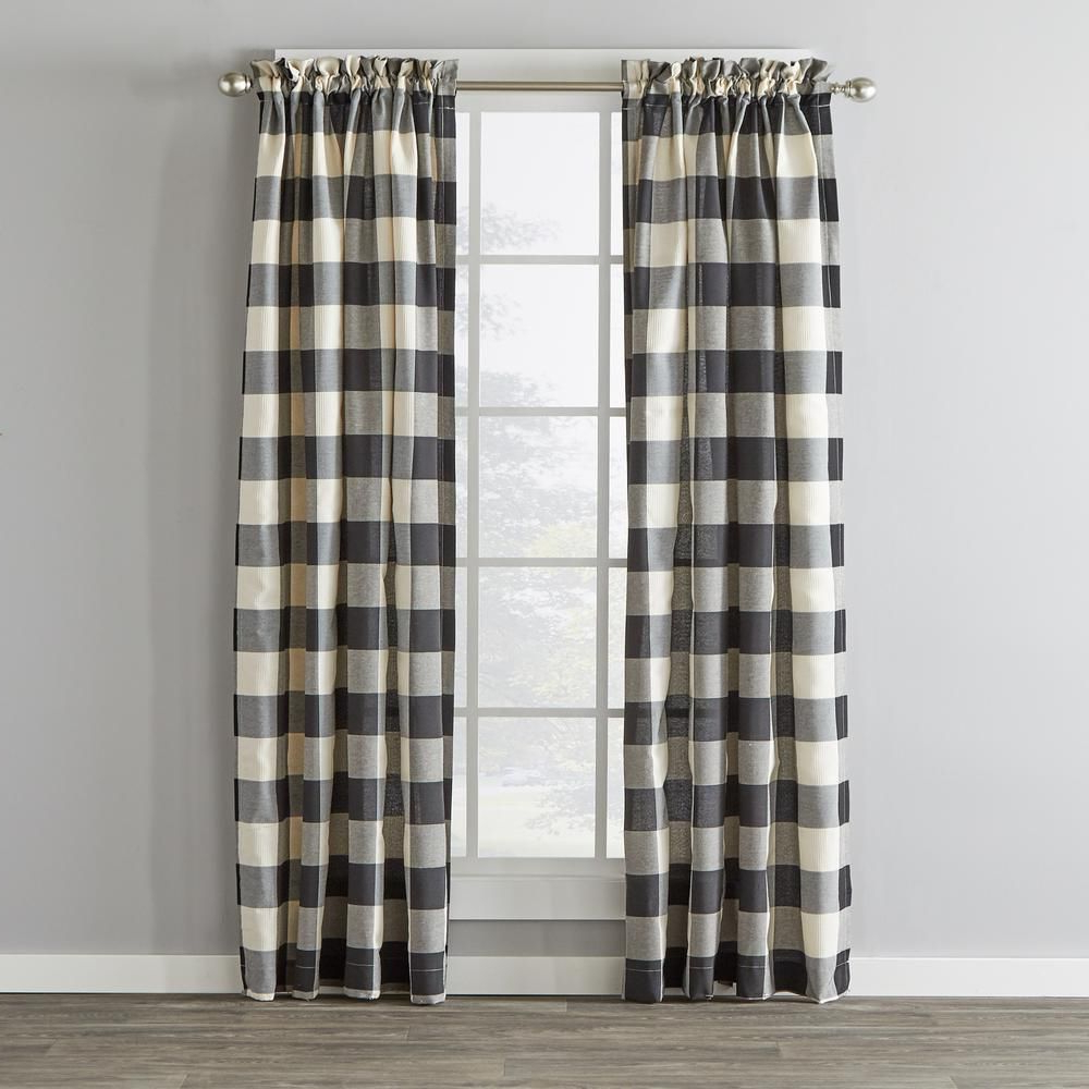 Fashionable Grandin Curtain Valances In Black Intended For Skl Home Grandin 40 In. W X 84 In (View 3 of 20)