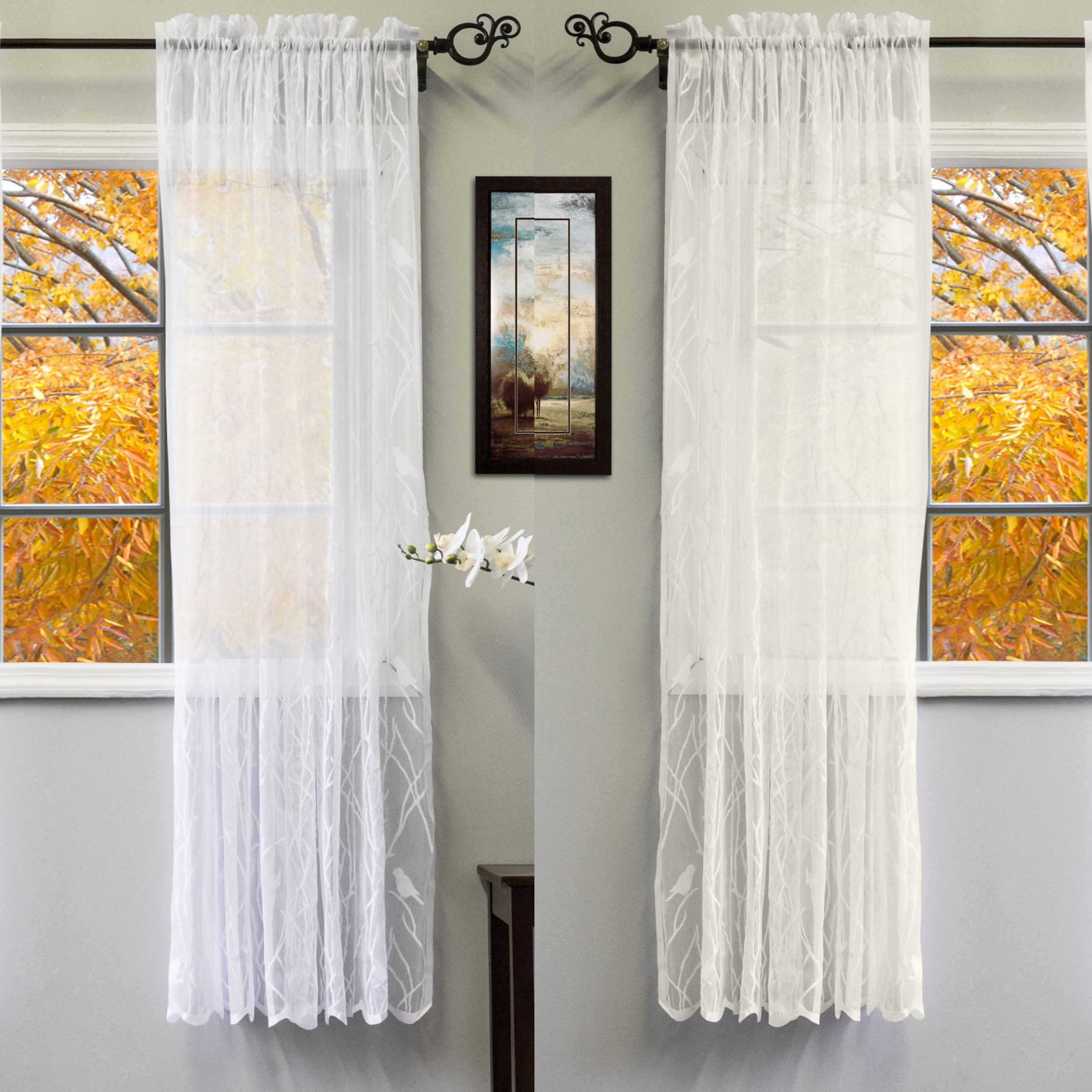 """Fashionable Ivory Knit Lace Bird Motif Window Curtain With Regard To Details About Knit Lace Polyester Songbird Motif 56""""x 63"""" Window Curtain  Panel (Gallery 12 of 20)"""