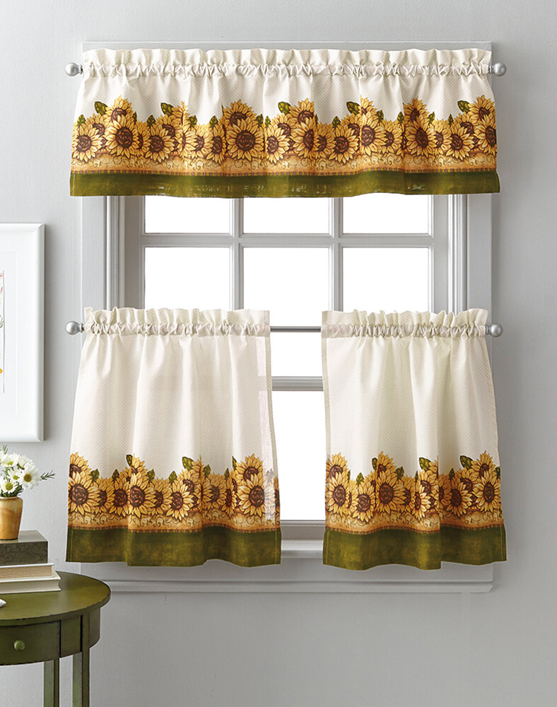 Fashionable Laurel Foundry Modern Farmhouse Pierceton Sunflower Graden 3 For Traditional Tailored Window Curtains With Embroidered Yellow Sunflowers (View 19 of 20)