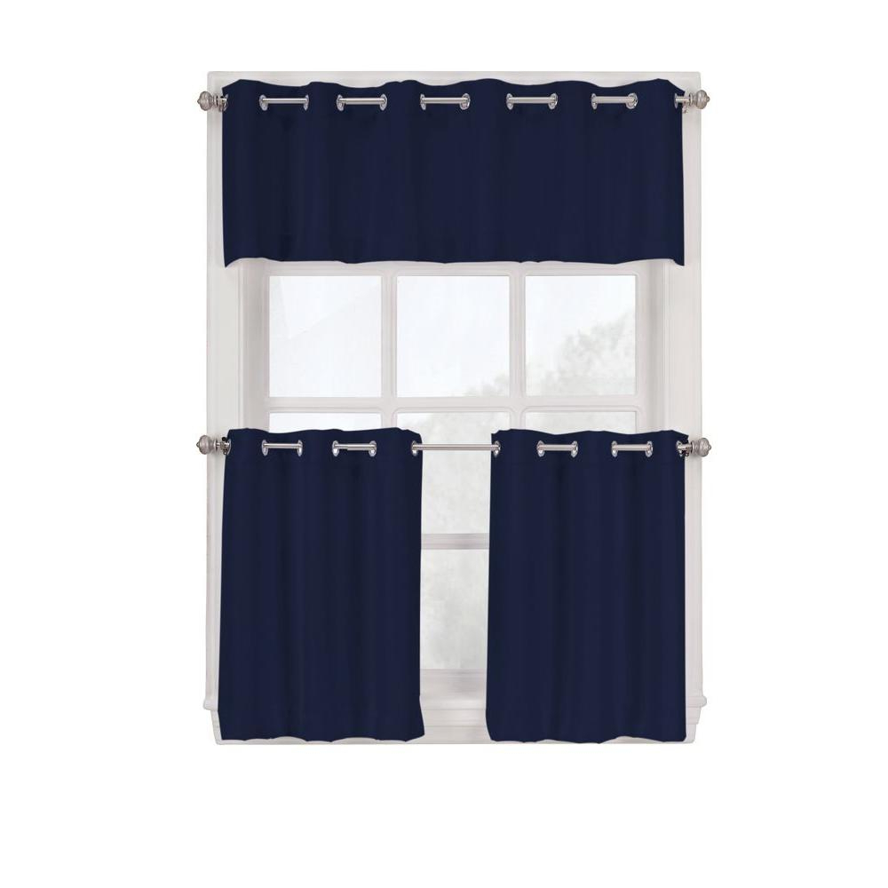 Fashionable Light Filtering Kitchen Tiers In Lichtenberg Semi Opaque Navy Montego Grommet Kitchen Curtain Tiers, 56 In. W X 24 In (View 20 of 20)