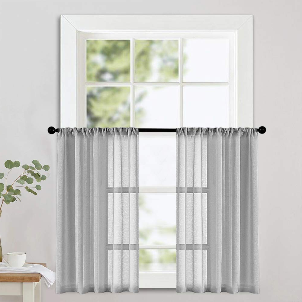 Fashionable Linen Stripe Rod Pocket Sheer Kitchen Tier Sets Inside Mrtrees Grey Sheer Tier Curtains Kitchen 36 Inch Length Linen Textured Voile Half Window Curtains Light Filtering Short Semi Curtain Sheers Bathroom (View 7 of 20)