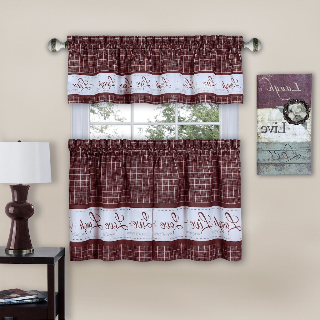 Fashionable Live, Love, Laugh Window Curtain Tier Pair & Valance, 58X24 Throughout Grace Cinnabar 5 Piece Curtain Tier And Swag Sets (Gallery 12 of 20)