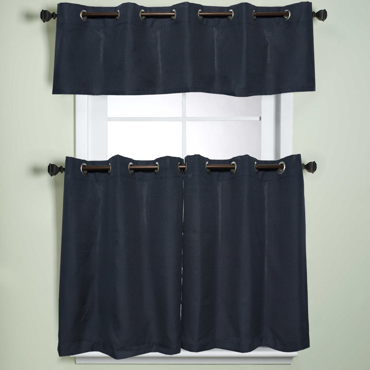 Fashionable Modern Subtle Texture Solid Navy Kitchen Curtain Parts With Grommets Tier And Valance Options In Modern Subtle Texture Solid Red Kitchen Curtains (View 6 of 20)