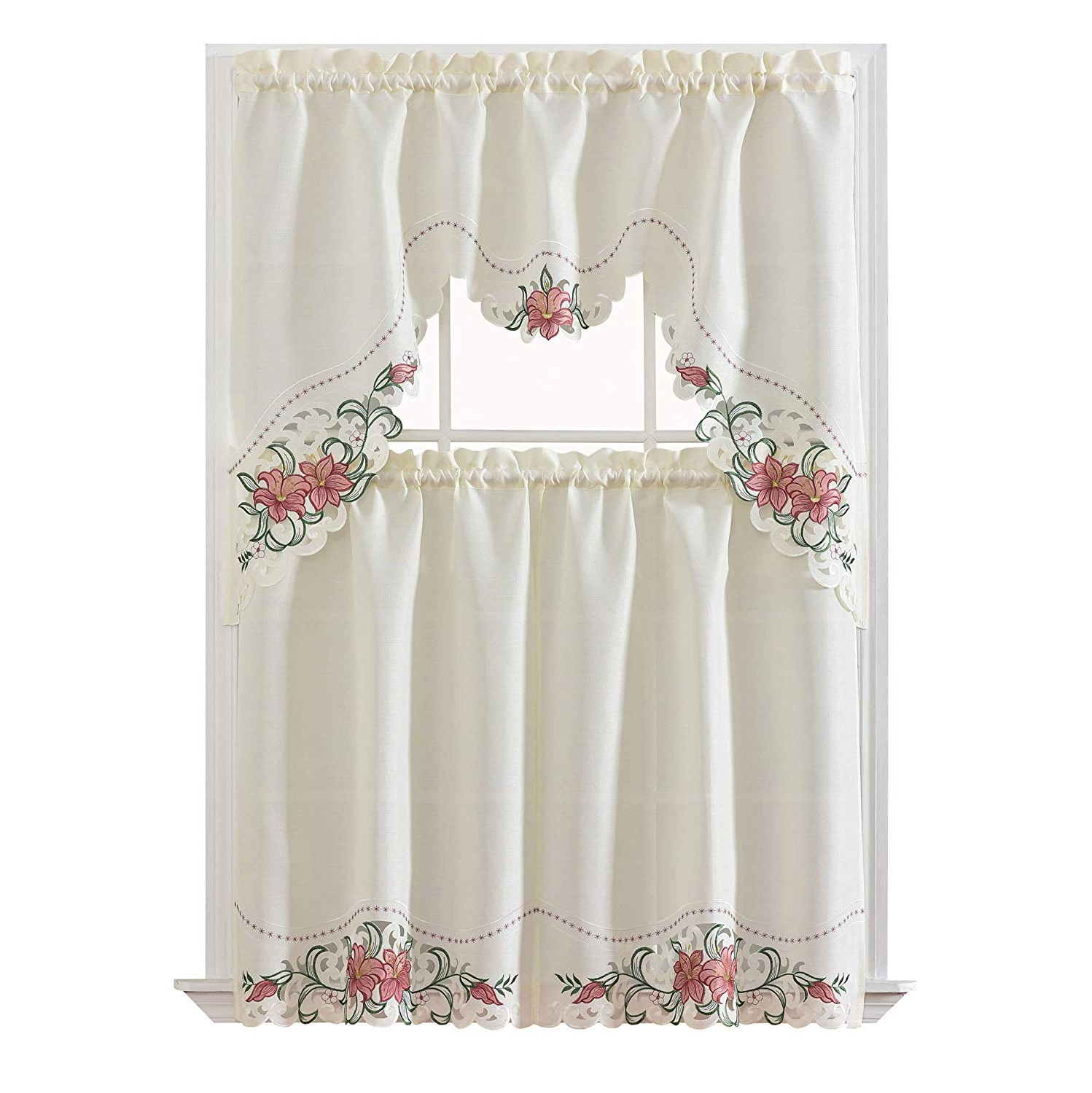 Fashionable Multicolored Printed Curtain Tier And Swag Sets With Regard To Gohd Golden Ocean Home Decor Lily Fragrance. 3Pcs Multi Color Embroidery  Kitchen Cafe Curtain Set Swag And Tiers Set With Cutworks (View 7 of 20)