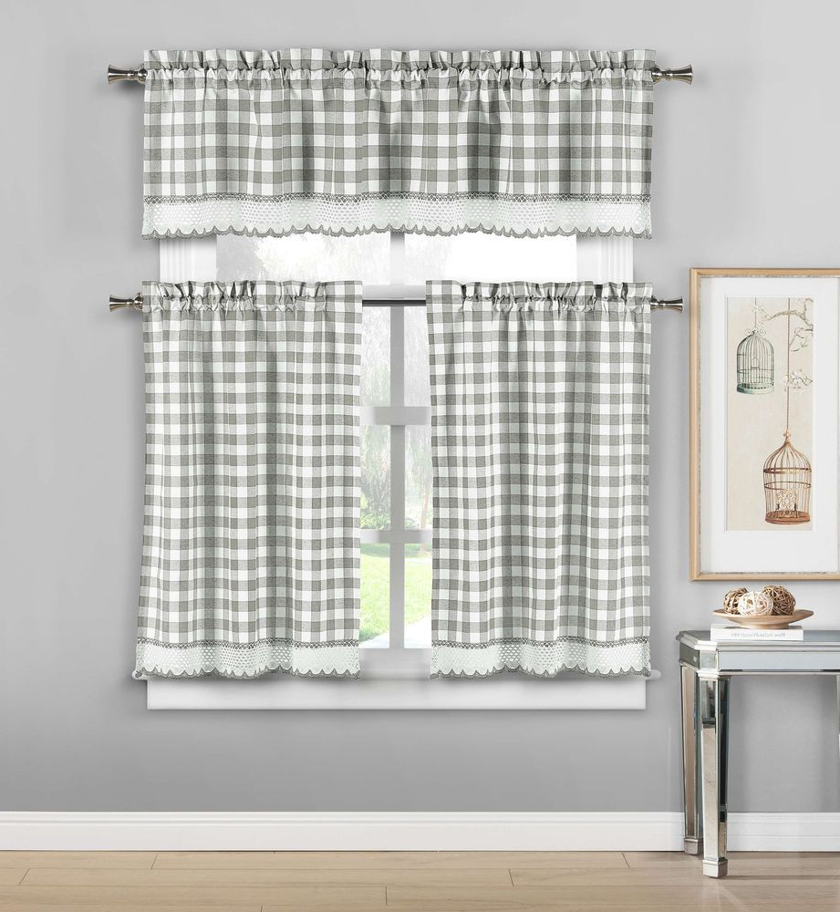 Fashionable Premium Check Chrochet Kitchen Window Curtain Tier & Valance Regarding Grey Window Curtain Tier And Valance Sets (View 10 of 20)
