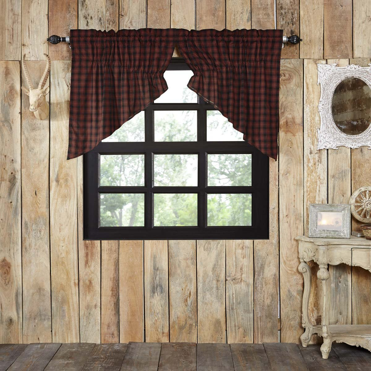 Fashionable Red Rustic Kitchen Curtains Throughout Chili Pepper Red Rustic & Lodge Kitchen Curtains Shasta (Gallery 5 of 20)