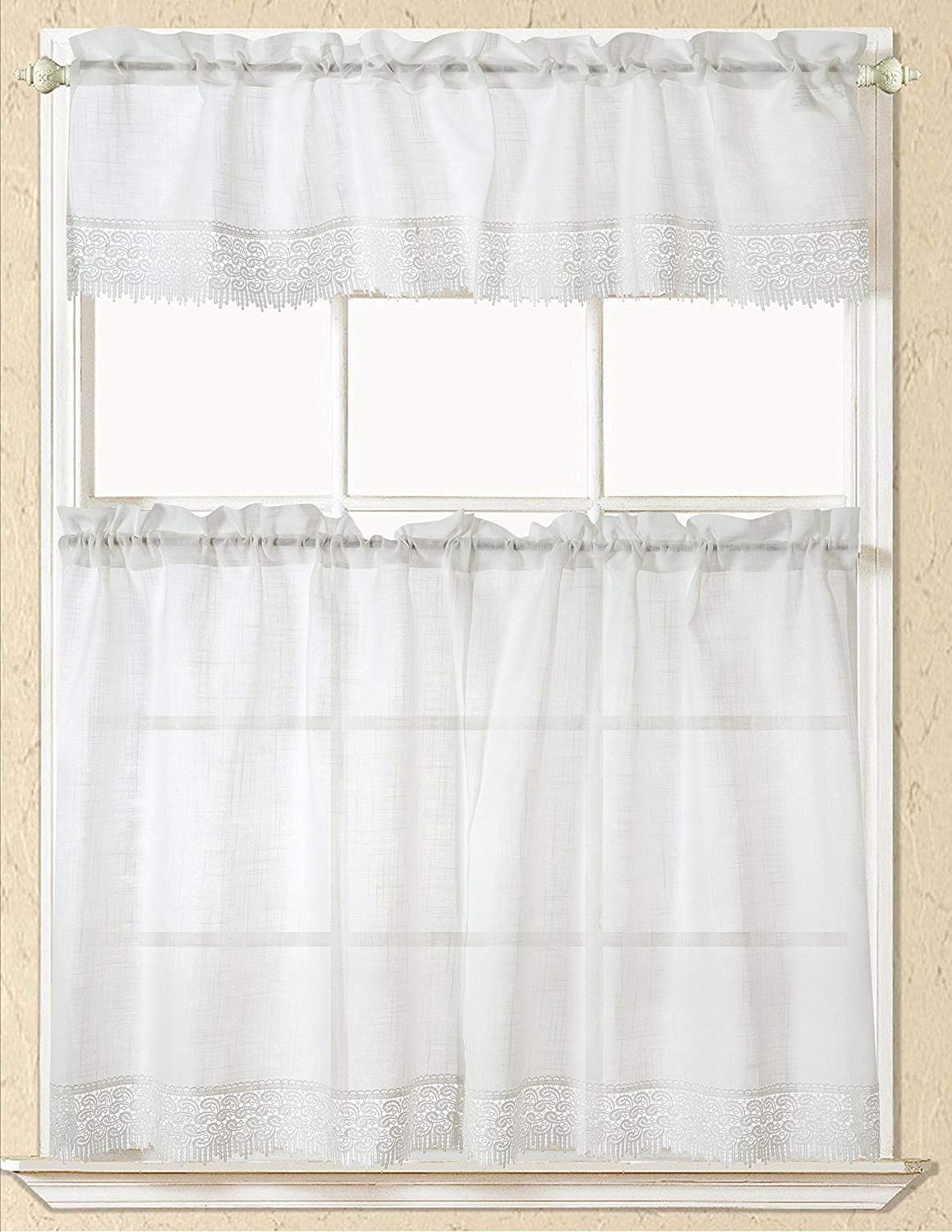 Fashionable Rt Designers Collection Evie Macrame Kitchen Curtain Tier And Valance Set, White Intended For Urban Embroidered Tier And Valance Kitchen Curtain Tier Sets (View 19 of 20)