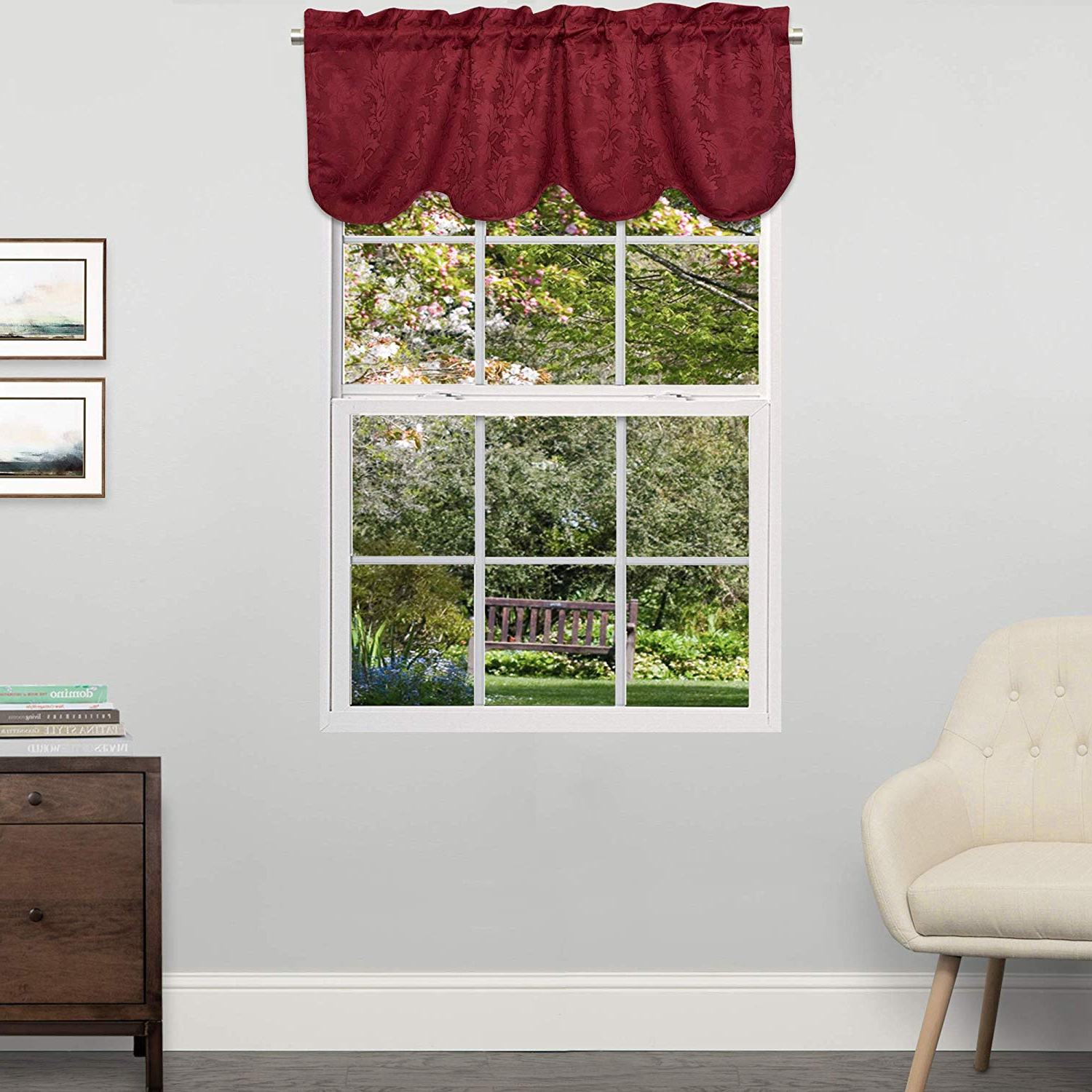 Fashionable Sweet Home Collection Cotton Kitchen Window Curtains Pair, Valance,  Adirondack Toast In Cotton Classic Toast Window Pane Pattern And Crotchet Trim Tiers (Gallery 7 of 20)