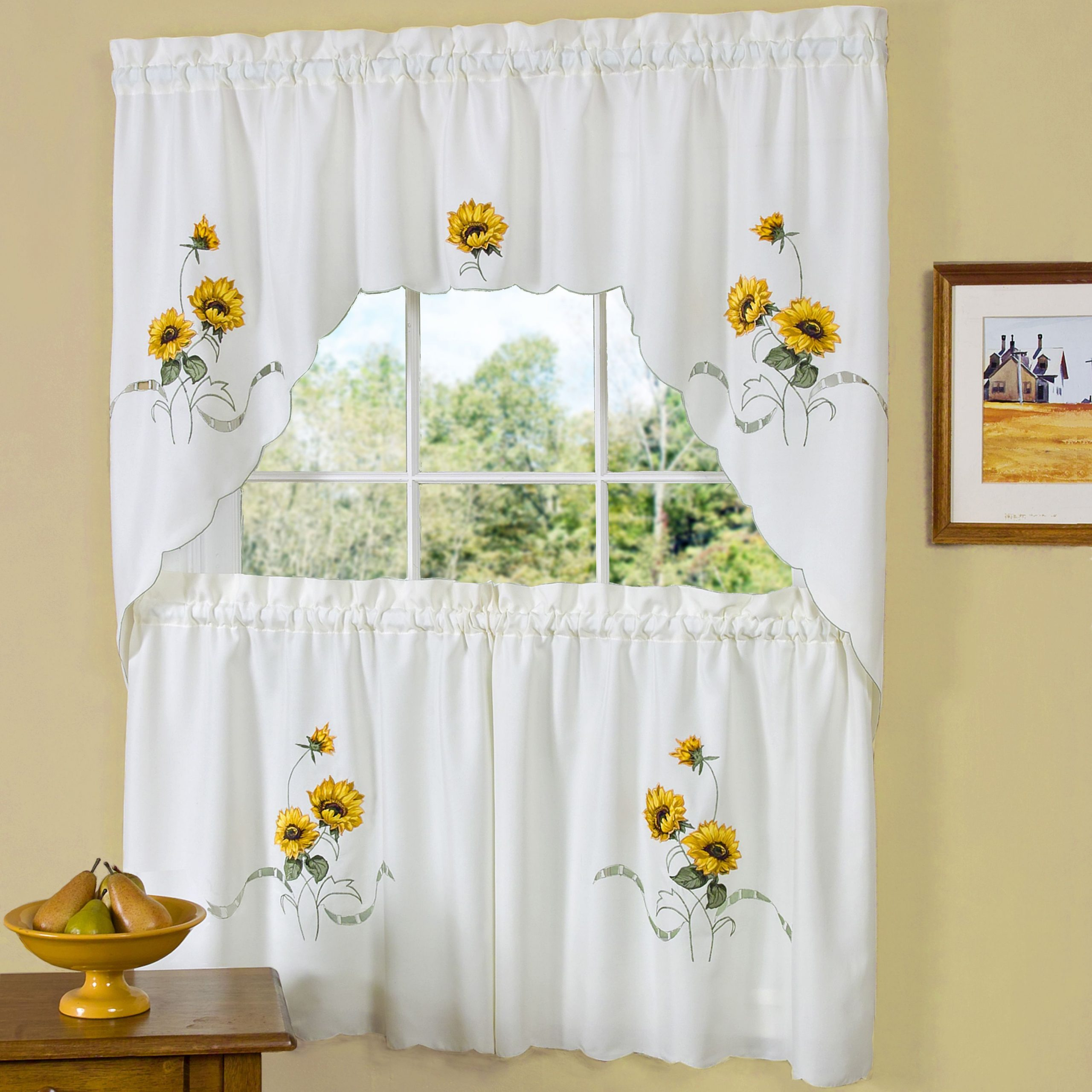 Fashionable Traditional Two Piece Tailored Tier And Swag Window Curtains For Traditional Two Piece Tailored Tier And Swag Window Curtains Sets With Ornate Rooster Print (View 5 of 20)
