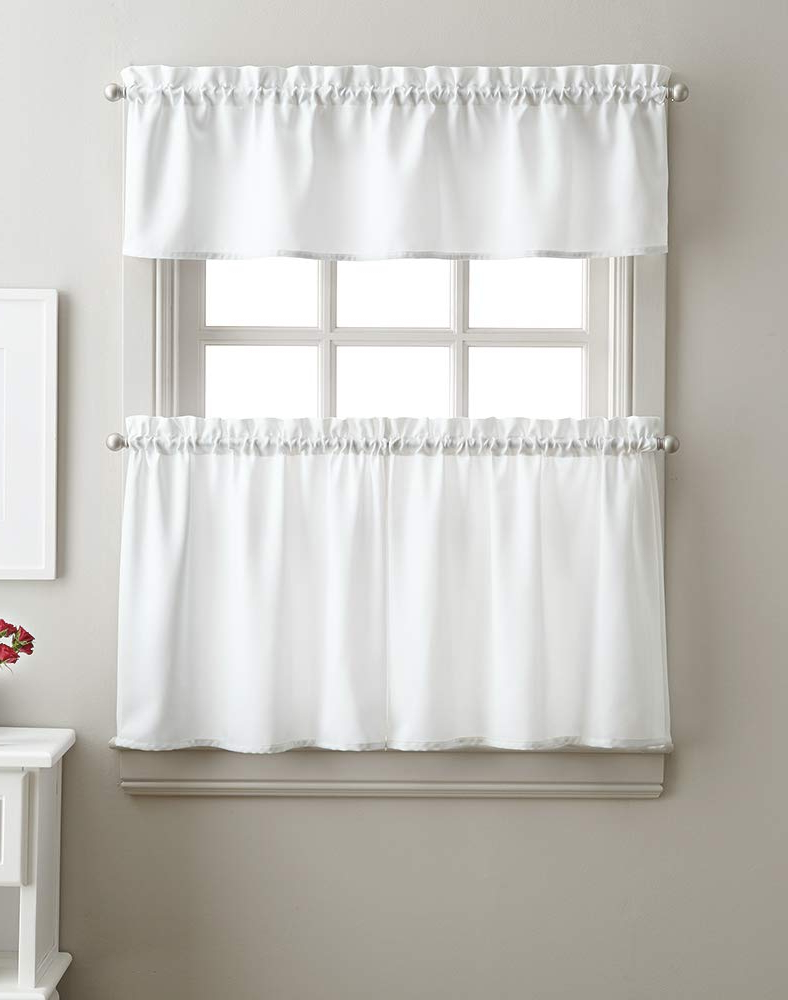 Fashionable Twill 3 Piece Kitchen Curtain Tier Sets Inside Amazon: Solid Twill 3 Piece Kitchen Curtain Set, Rod (View 2 of 20)