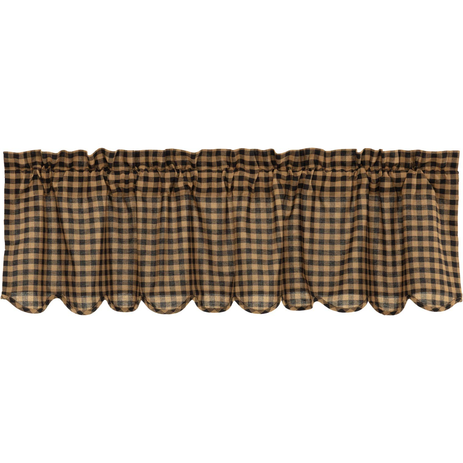 Fashionable Vhc Brands Primitive Kitchen Curtains Black Rod Pocket Cotton Check 16X60  Valance, Raven Intended For Primitive Kitchen Curtains (Gallery 9 of 20)