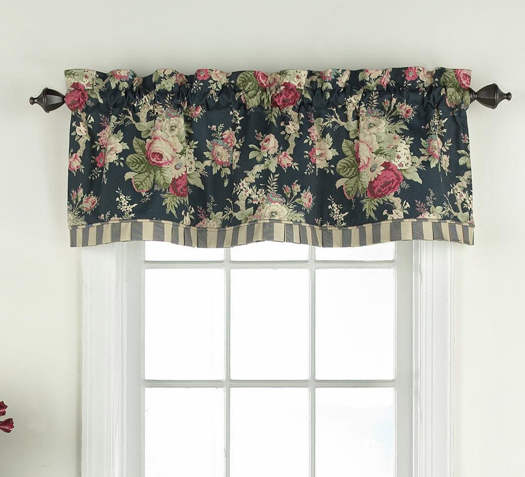 Fashionable Waverly Felicite Curtain Tiers Inside Waverly 14928052016htb Sanctuary Rose 60 Inch18 Inch Window Valance, Heritage Blue (View 20 of 20)