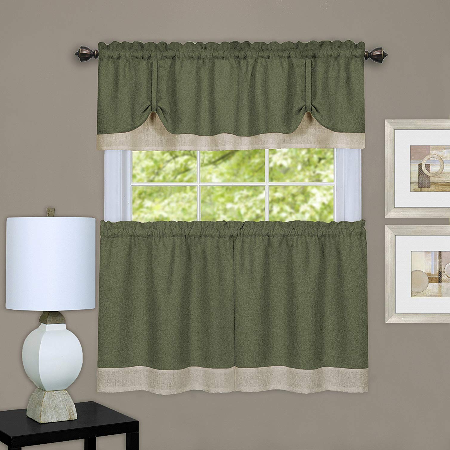"Fashionable Window Curtain Tier And Valance Sets With Achim Home Furnishings, Green & Camel Darcy Window Curtain Tier And Valance Set, Pair 58"" X 36"" With 14"" (View 3 of 20)"