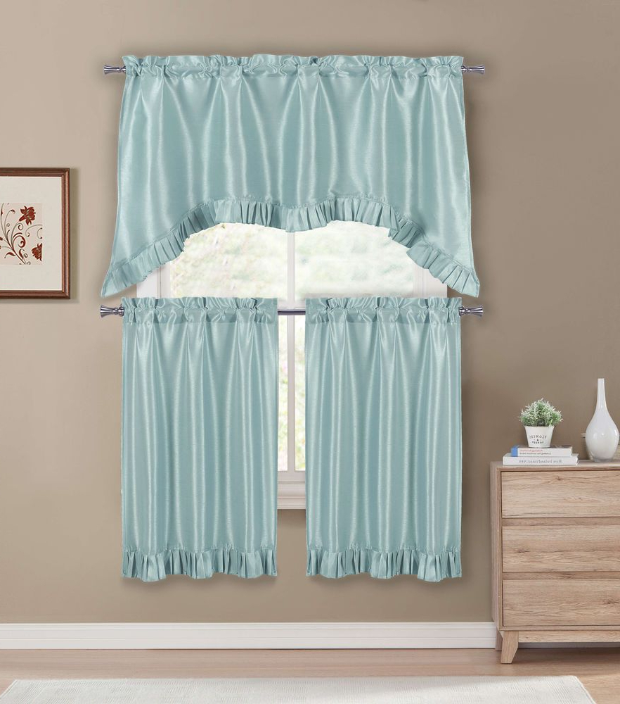 Faux Silk 3 Piece Kitchen Curtain Sets In Well Liked Premium Faux Silk Kitchen Window Curtain Drape Tier (View 8 of 20)
