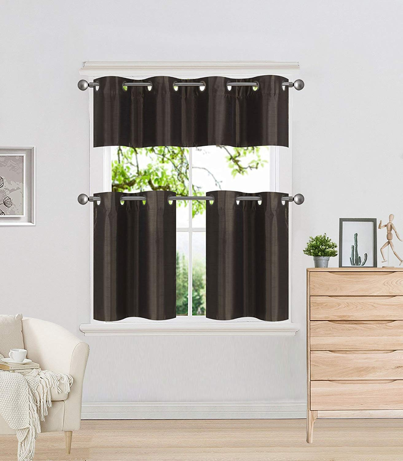 Faux Silk 3 Piece Kitchen Curtain Sets Intended For Latest Diamondhome 3 Piece Faux Silk Grommet Lined Thermal Blackout Kitchen Window  Curtain Set 2 Tiers & 1 Valance (Brown) (View 7 of 20)