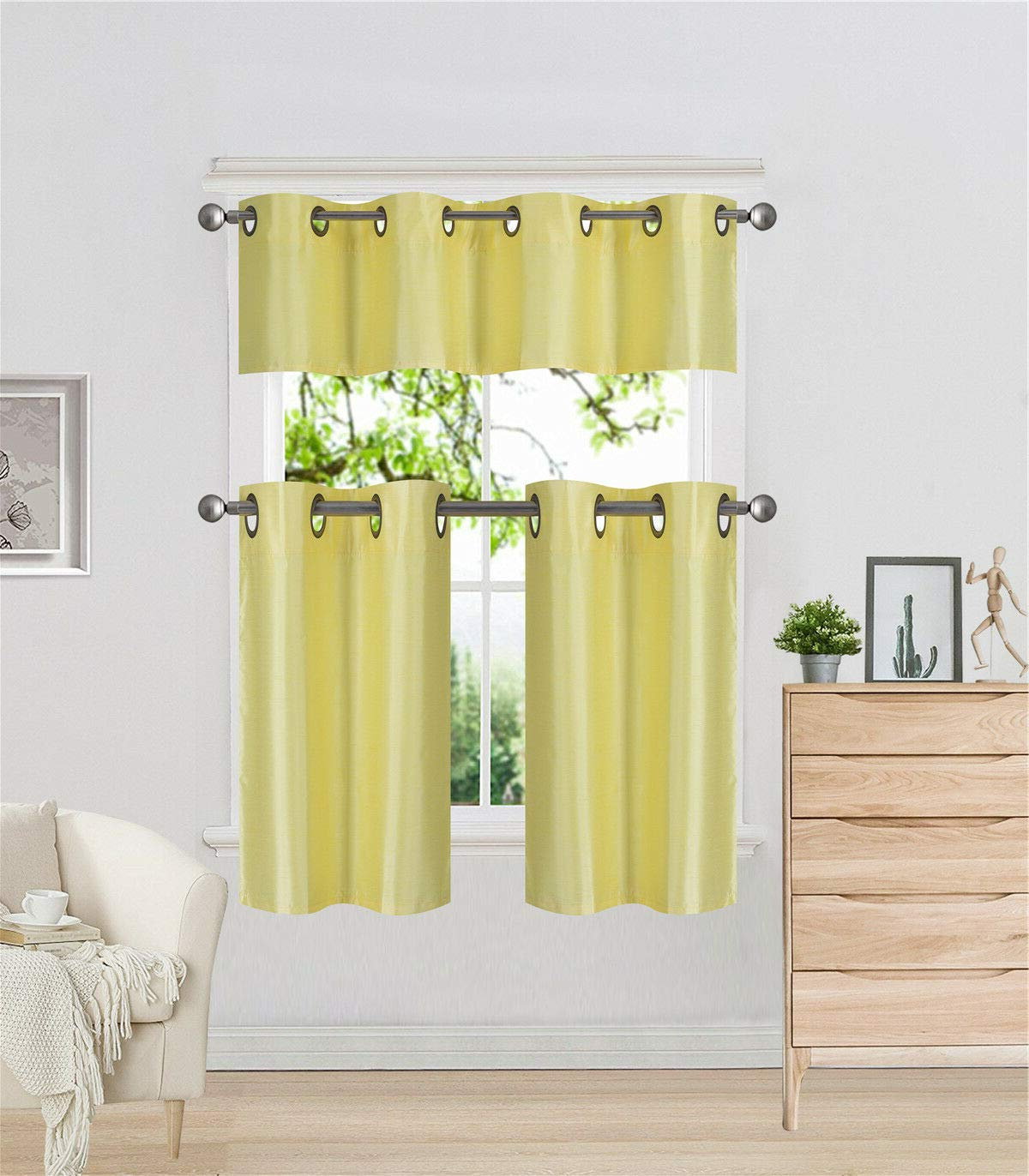Faux Silk 3 Piece Kitchen Curtain Sets Pertaining To Fashionable Diamondhome 3 Piece Faux Silk Grommet Lined Thermal Blackout Kitchen Window Curtain Set 2 Tiers & 1 Valance, K7 (yellow) (View 15 of 20)