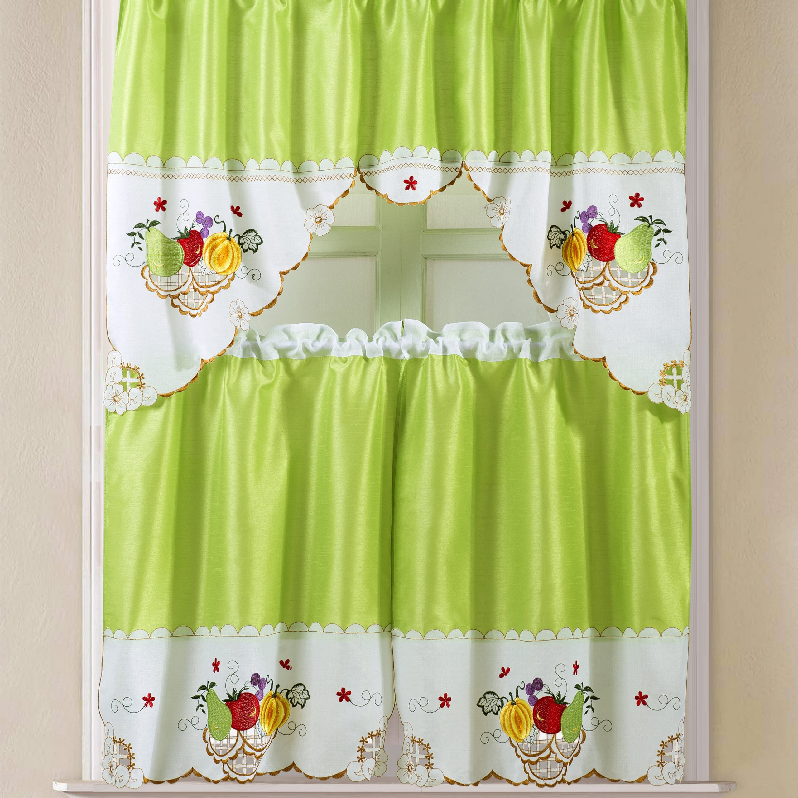 """Faux Silk 3 Piece Kitchen Curtain Sets With Regard To Popular Soper Faux Silk 3 Piece 60"""" Kitchen Curtain Set (Gallery 6 of 20)"""