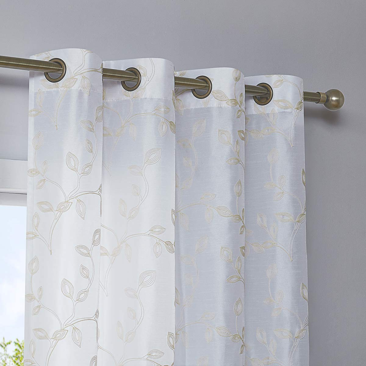 Faux Silk Embroidered Semi Sheer Curtains For Bedroom, Grommet Floral Embroidered Sheer Window Curtains For Living Room, 52 X 84 Inch Long, White, 2 Intended For Most Recent Floral Embroidered Faux Silk Kitchen Tiers (View 15 of 20)
