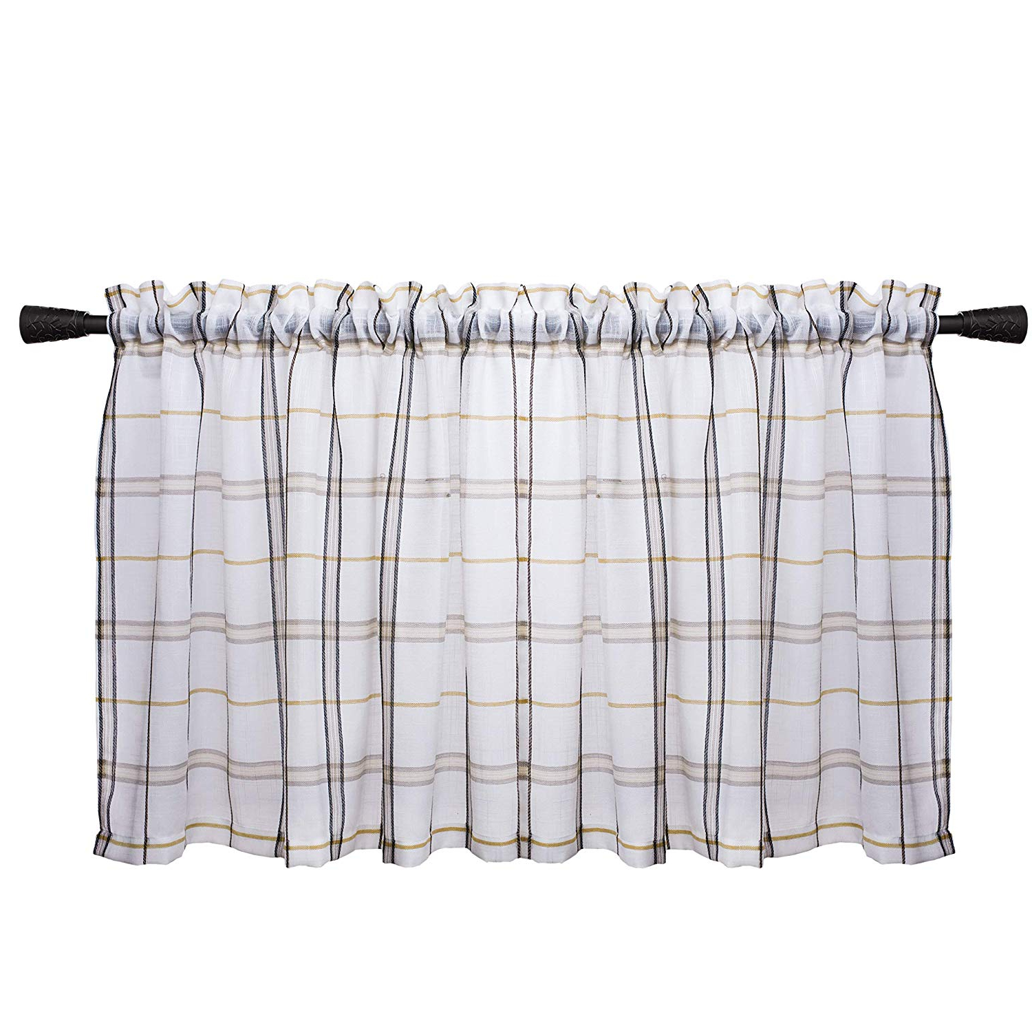 Favorite Amazon: White Check Kitchen Tiers, Linen Look Gingham For Classic Black And White Curtain Tiers (View 4 of 20)