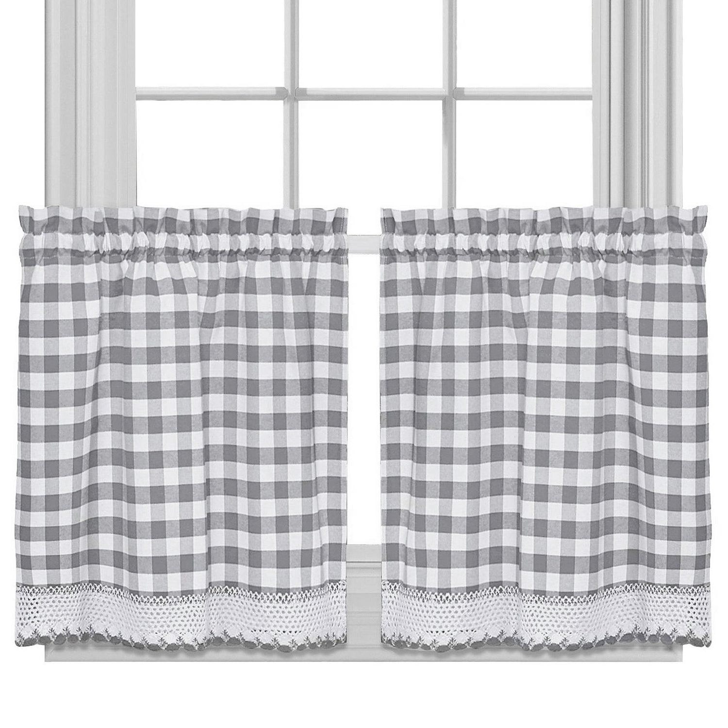 Favorite Buffalo Check Cotton Blend Grey Kitchen Curtain Tier Pair With Class Blue Cotton Blend Macrame Trimmed Decorative Window Curtains (View 10 of 17)