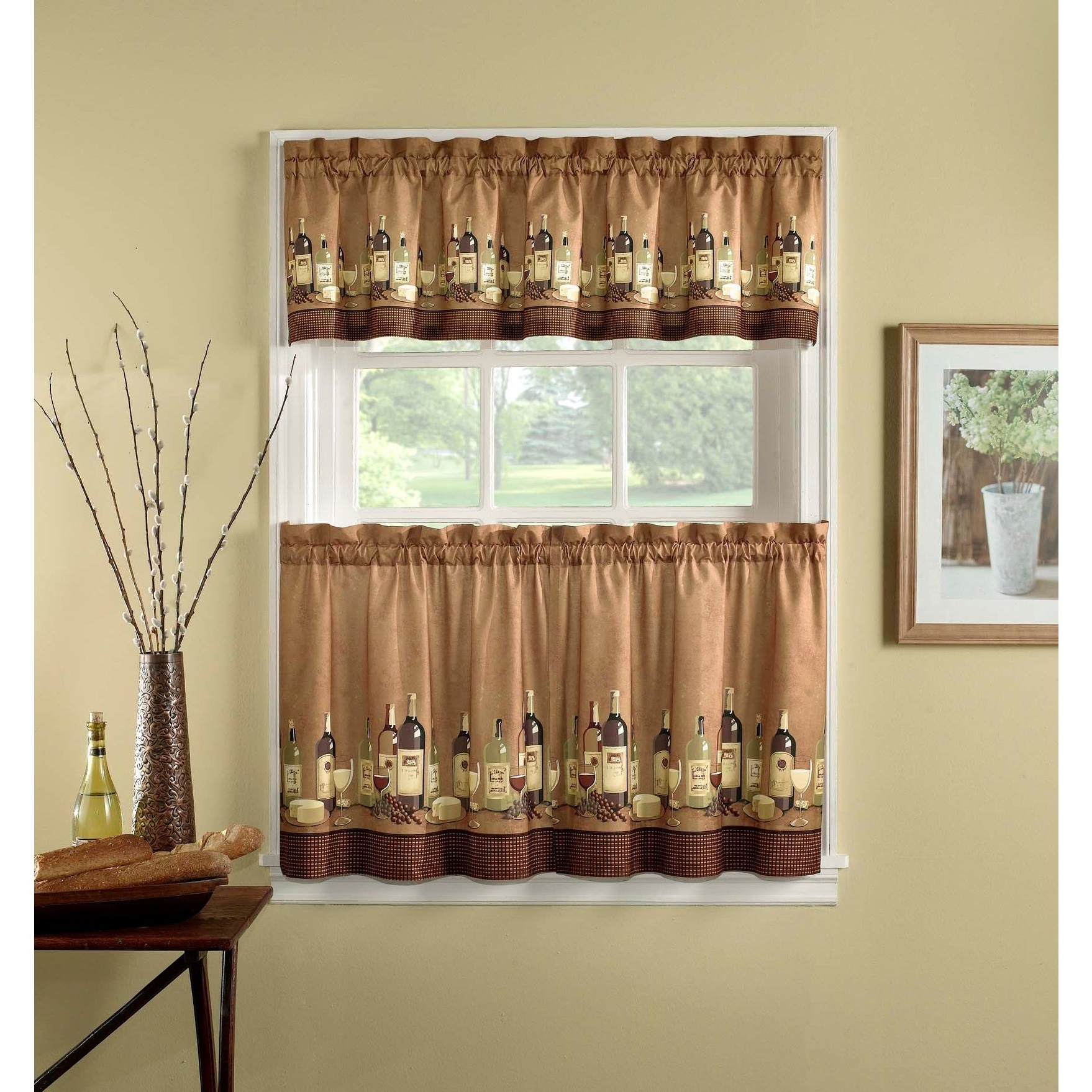 Favorite Chardonnay Tier And Swag Kitchen Curtain Sets With Wines 3 Piece Kitchen Curtain Tier Set (View 12 of 20)