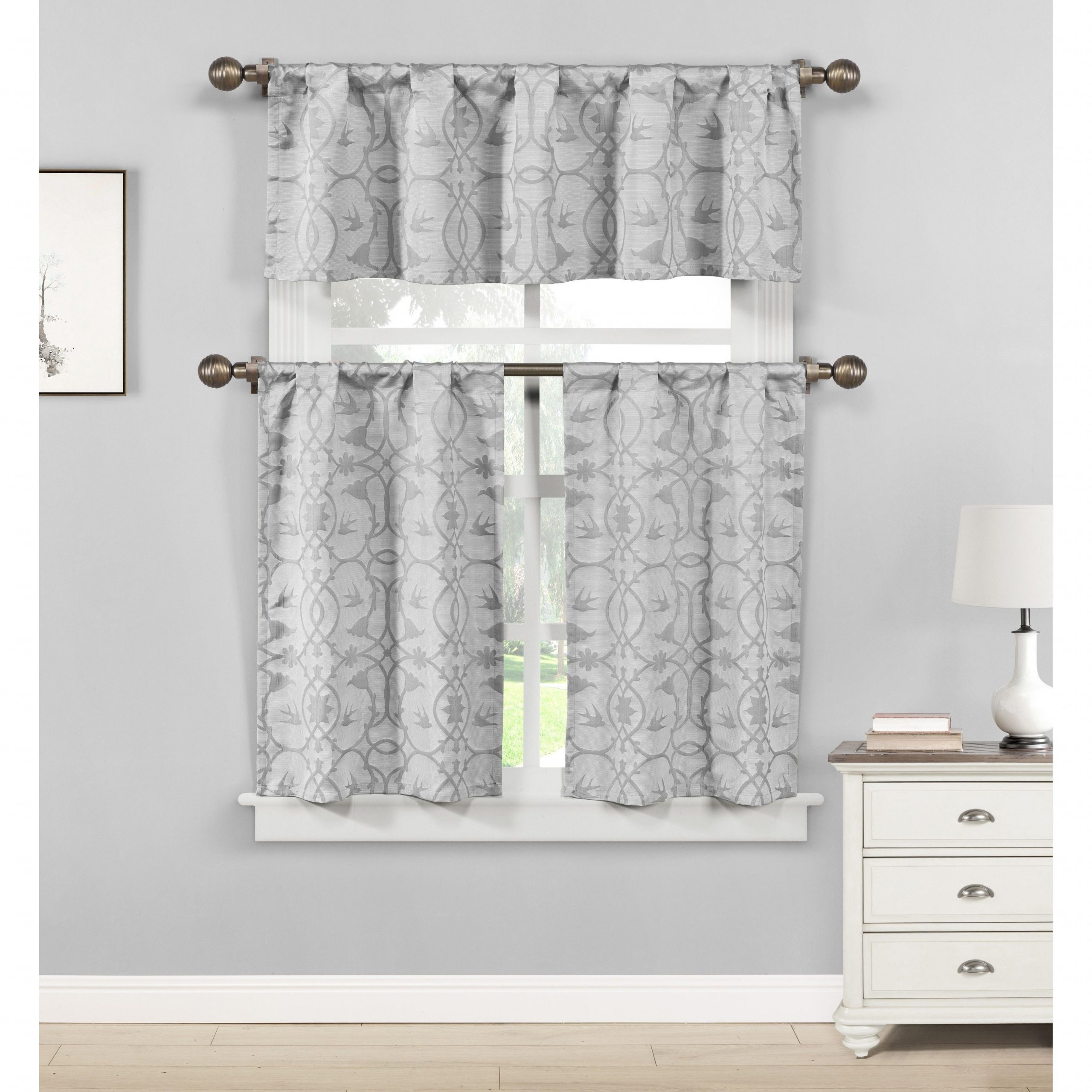 Favorite Chateau Wines Cottage Kitchen Curtain Tier And Valance Sets Within Duck River Dawn Birds Linen Look Jacquard 3 Piece Kitchen (View 20 of 20)