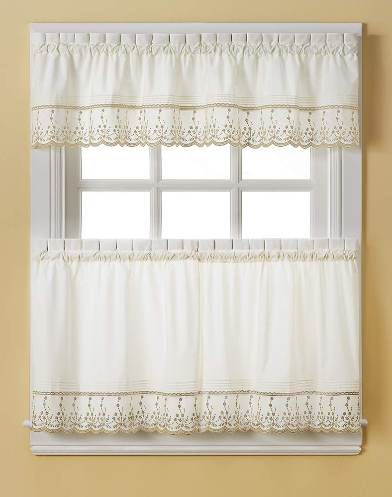 Favorite Chf Abby Solid White Embroidered Window Kitchen Curtain Tier Pair, Rod Pocket, 30W X 36L Inch, Taupe Within Abby Embroidered 5 Piece Curtain Tier And Swag Sets (View 4 of 20)