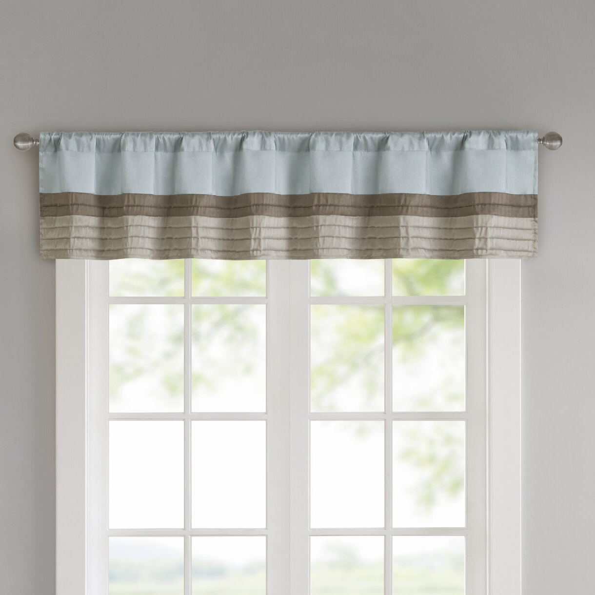 "Favorite Class Blue Cotton Blend Macrame Trimmed Decorative Window Curtains With Andover Mills Liesel Pintuck 50"" Window Valance (View 7 of 17)"