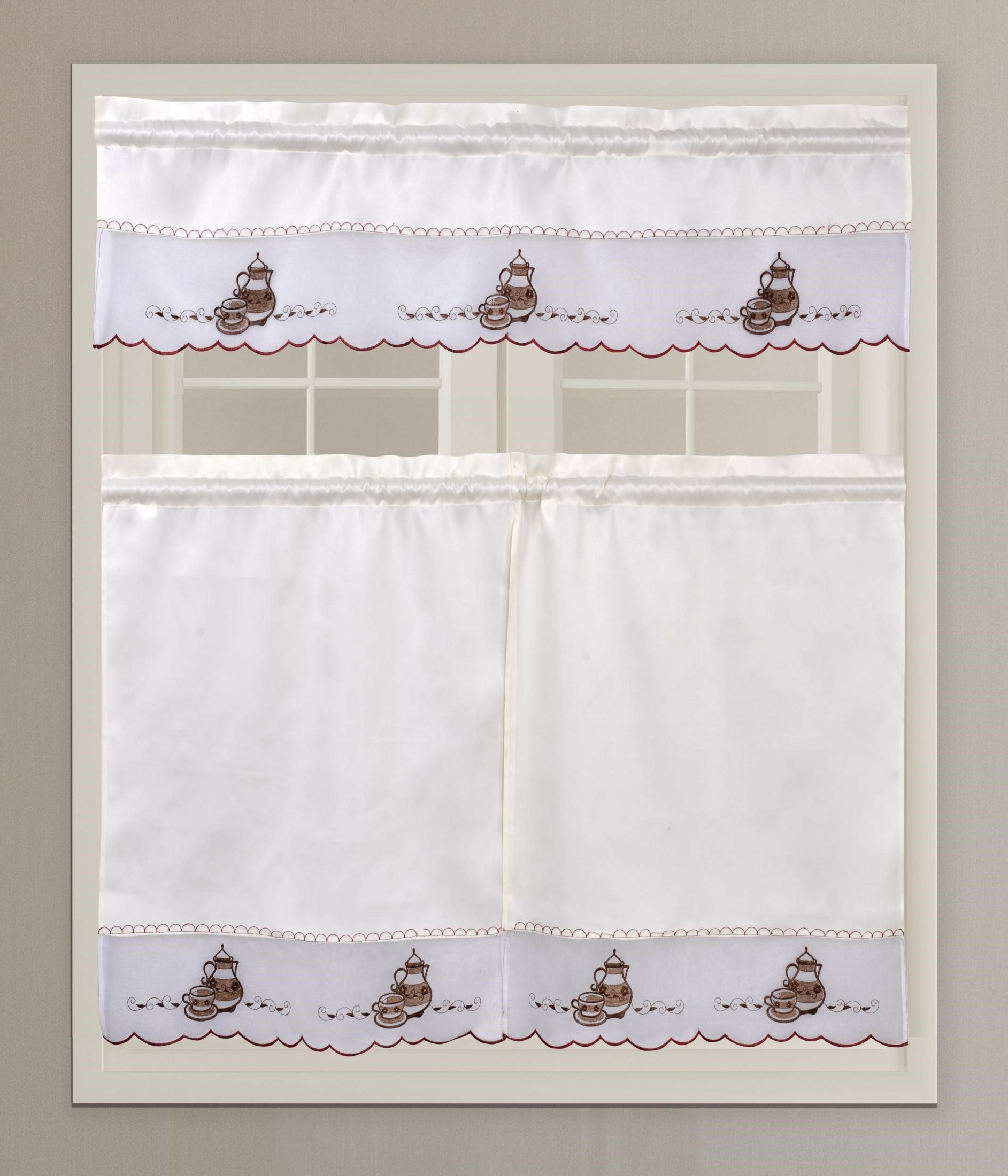 Favorite Coffee Embroidered Kitchen Curtain Tier Sets With Custis Coffee Tea Pot Embroidery 3 Piece Kitchen Curtain Set (Gallery 20 of 20)
