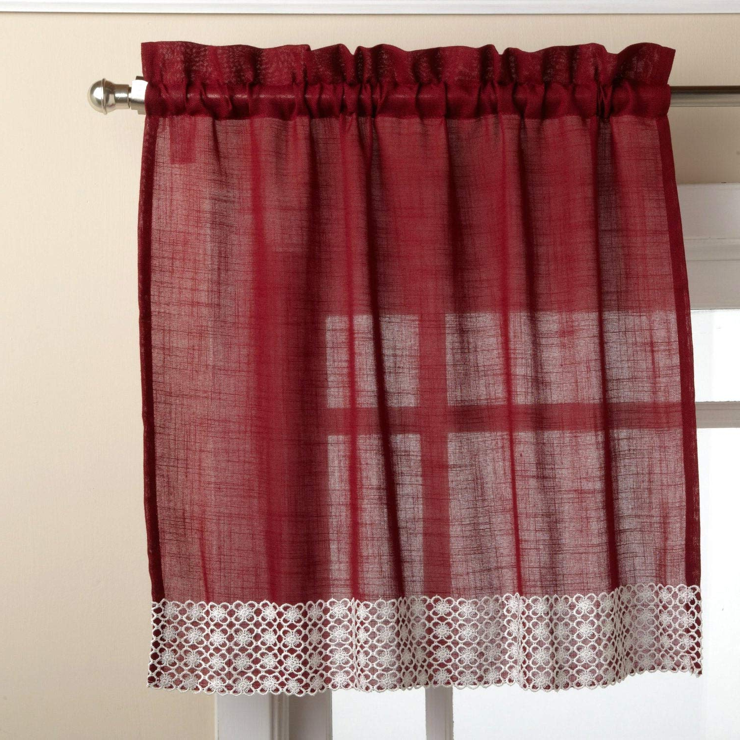 Favorite Country Style Curtain Parts With White Daisy Lace Accent Throughout Amazon: Bed Bath N More Burgundy Country Style Kitchen (Gallery 5 of 20)