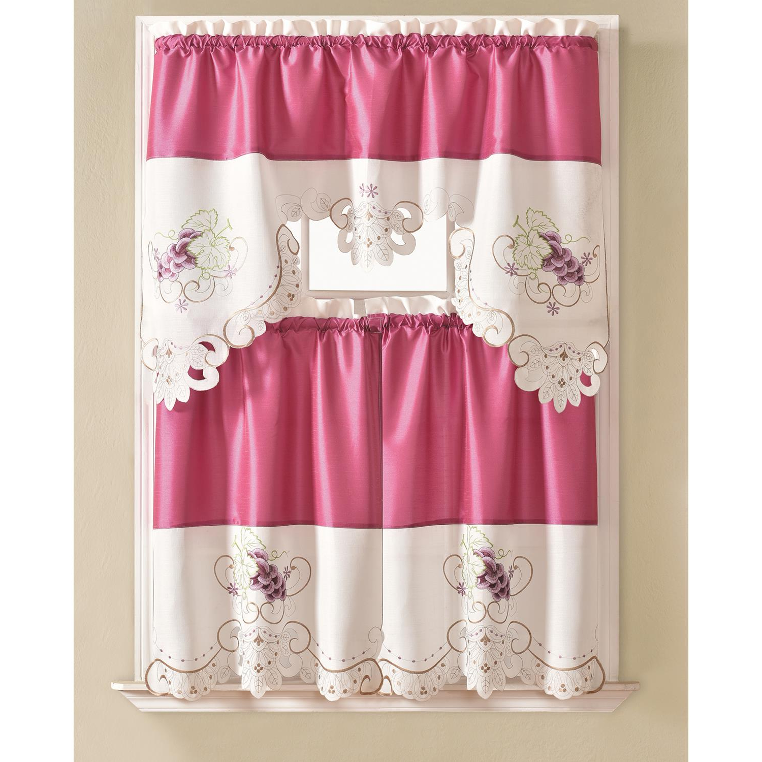 Favorite Details About Noble Embroidered Grape Tier And Valance Kitchen Curtain Set For Embroidered 'coffee Cup' 5 Piece Kitchen Curtain Sets (Gallery 4 of 20)